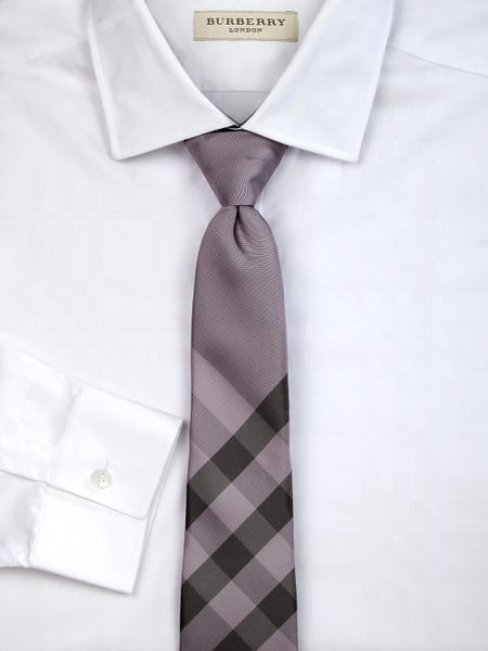 burberry check tie in purple for beige lyst