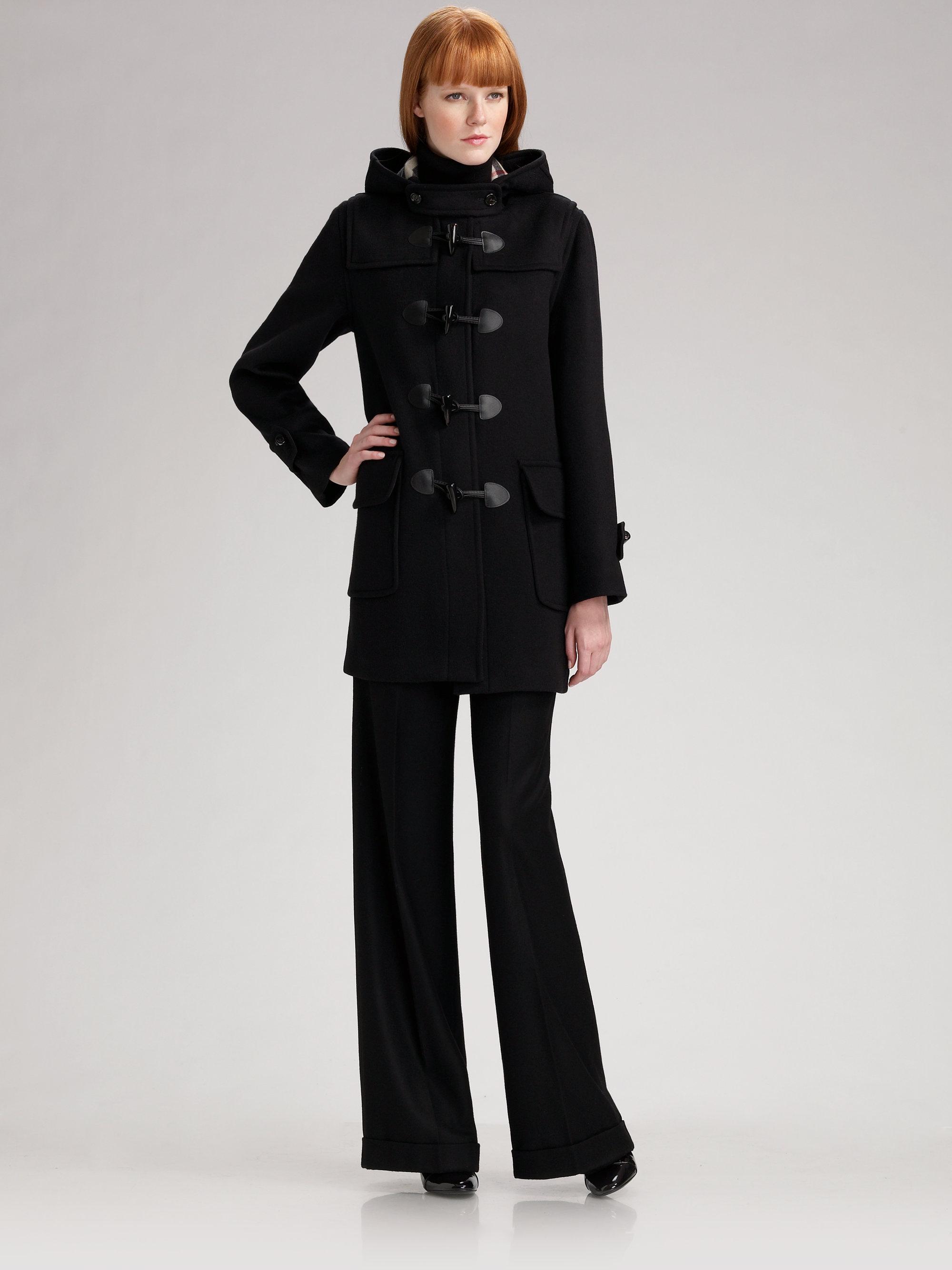 Burberry Hooded Wool Duffle Coat in Black   Lyst