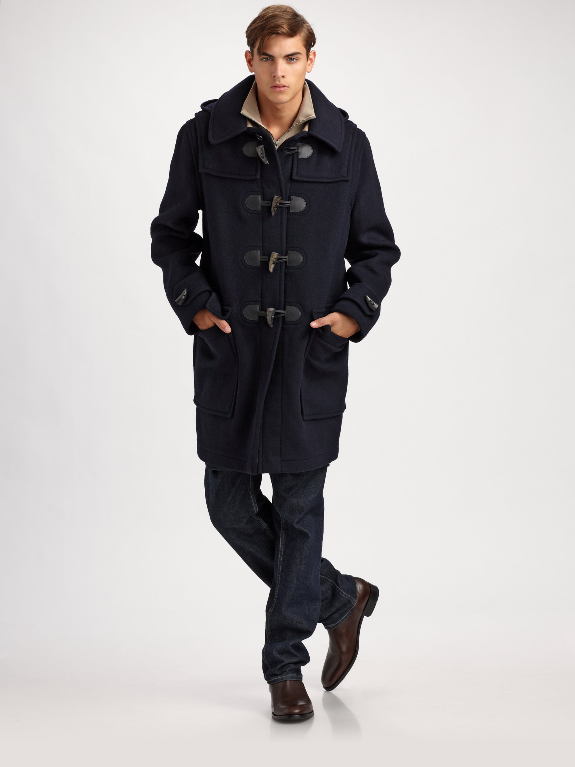 Burberry brit Wool Toggle Coat in Blue for Men | Lyst