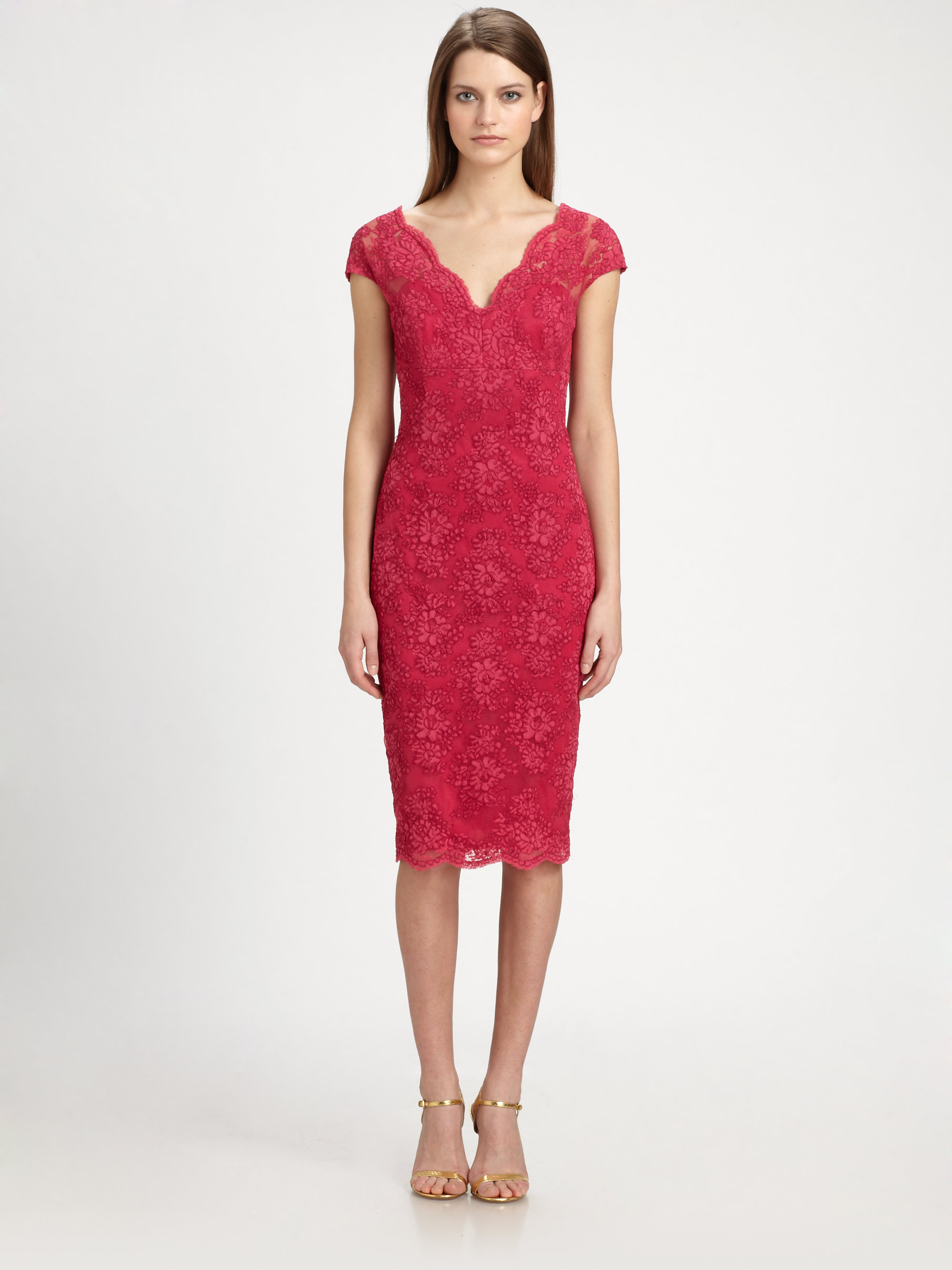 David meister Lace Dress in Red | Lyst