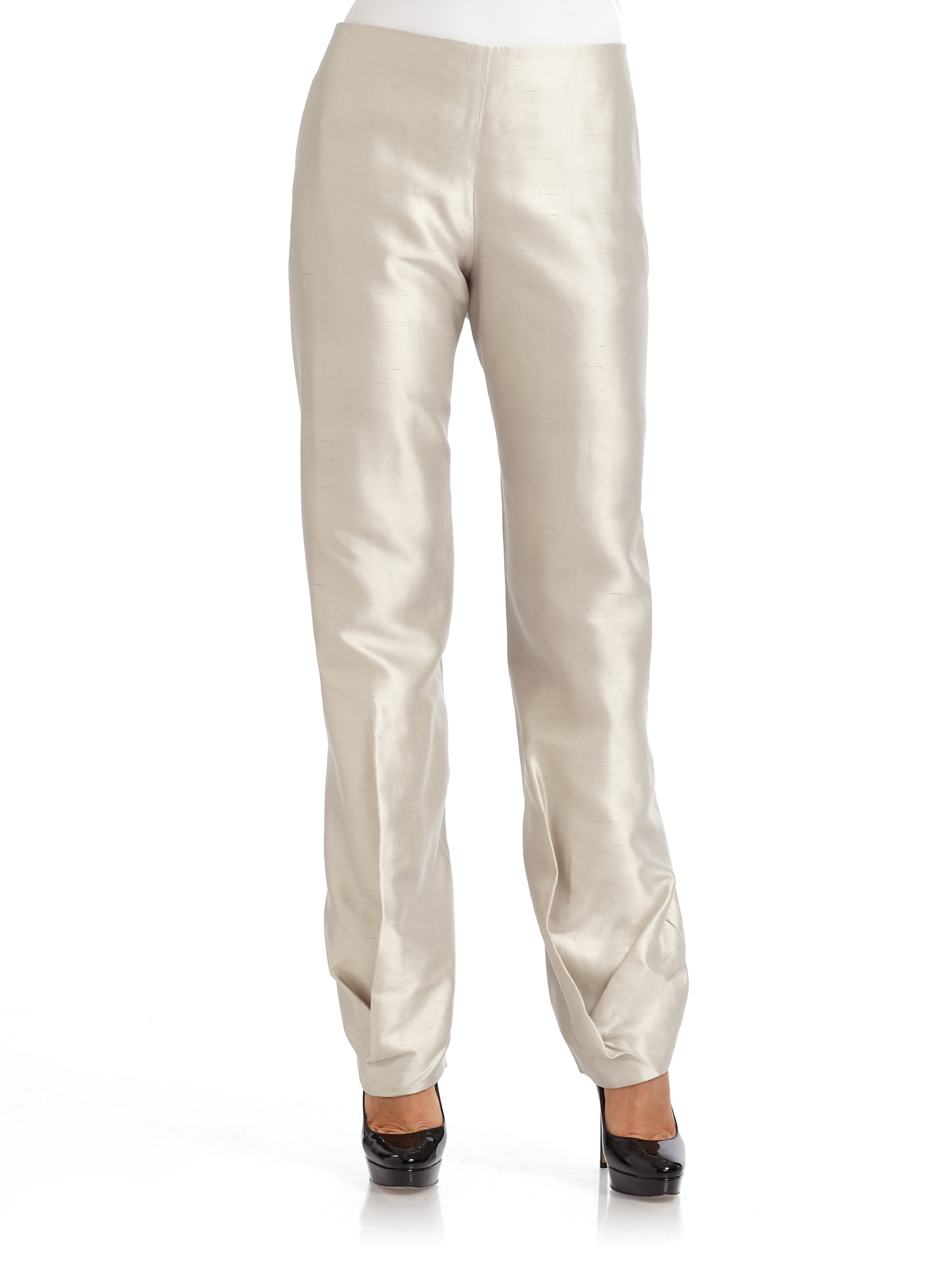 Giorgio Armani Pleated Shantung Silk Pants In Natural Lyst