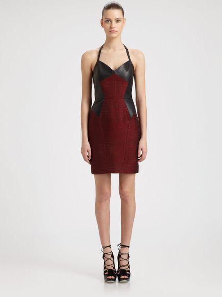 Jason Wu Leather Metallic Tweed Halter Dress in Red (ruby black)