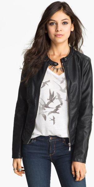 ... Faux Leather Moto Jacket Juniors in Black (start of color list black