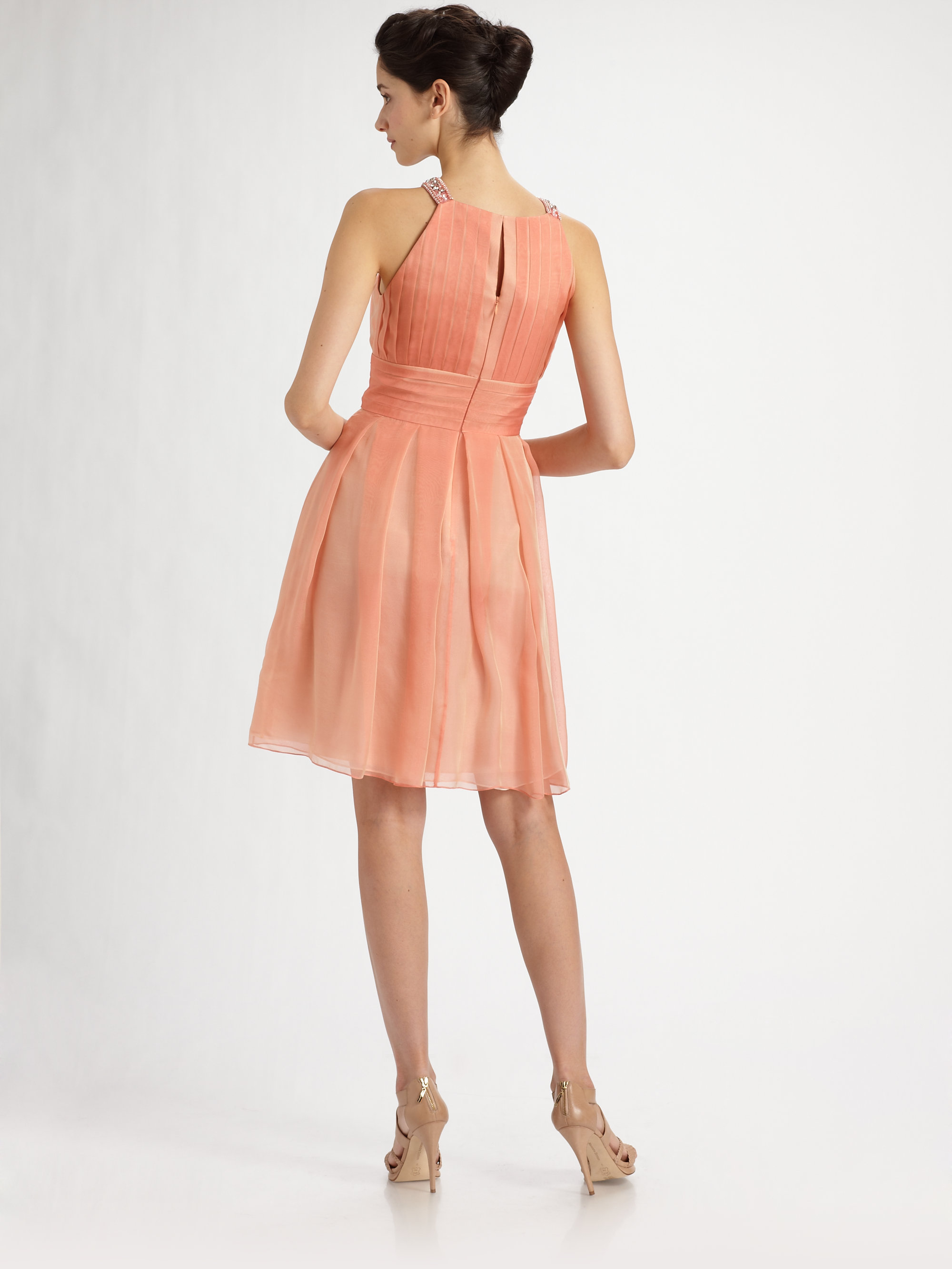 Lyst - Kay Unger Beaded Silk Chiffon Cocktail Dress in Pink