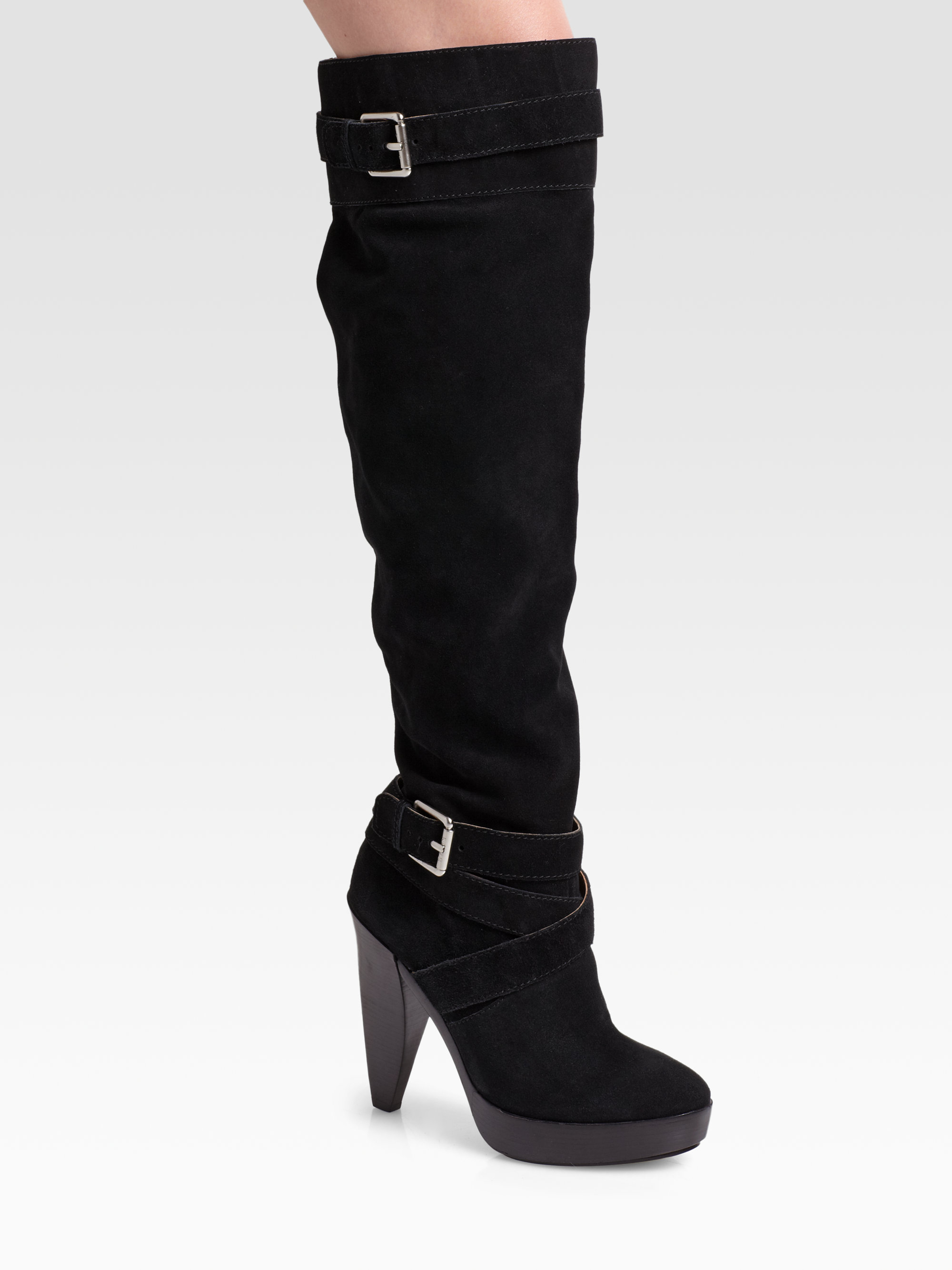 kors by michael kors zanzia suede buckle boots in black lyst