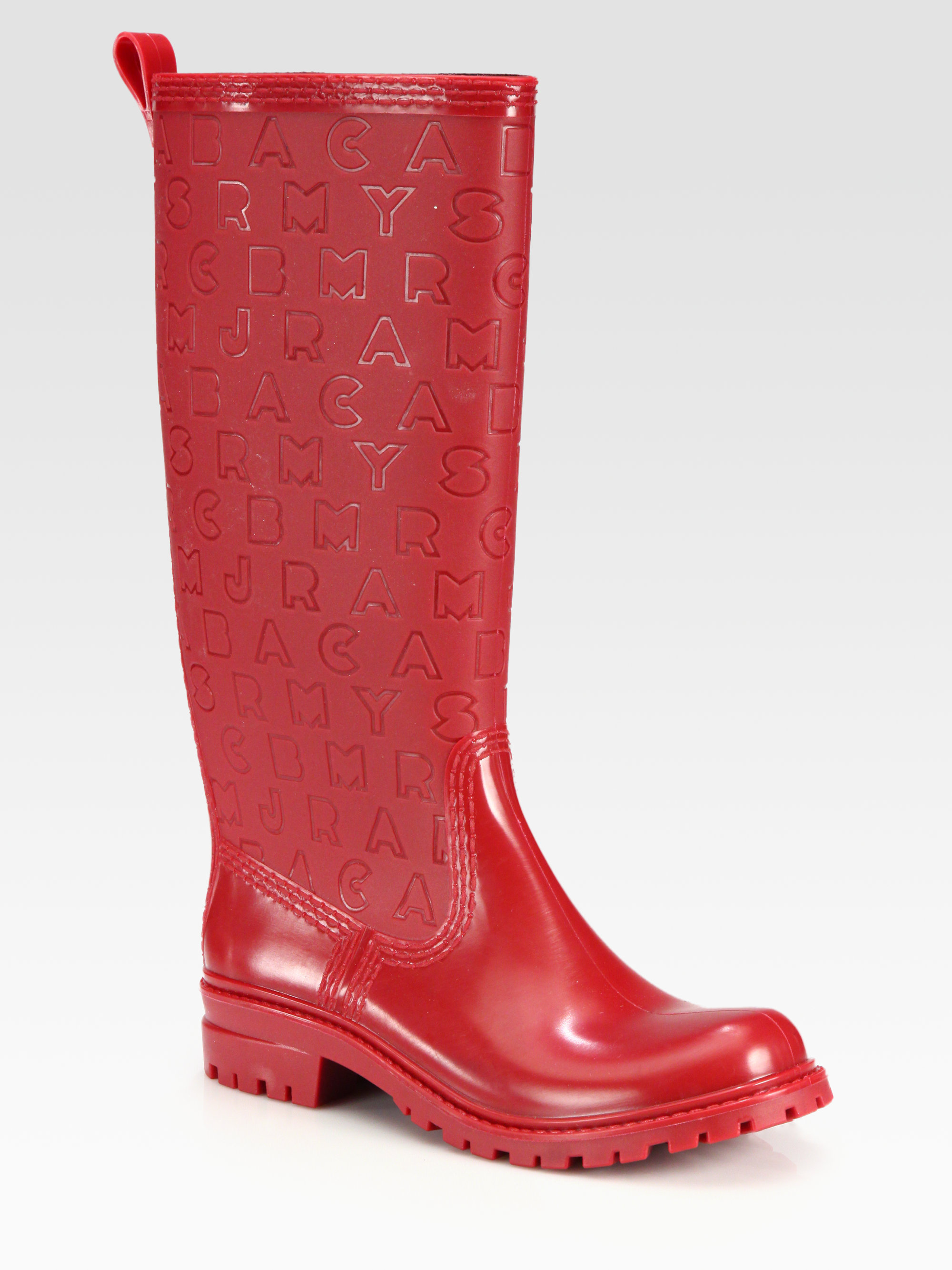 marc by marc jacobs logoembossed rain boots in pink lyst. Black Bedroom Furniture Sets. Home Design Ideas