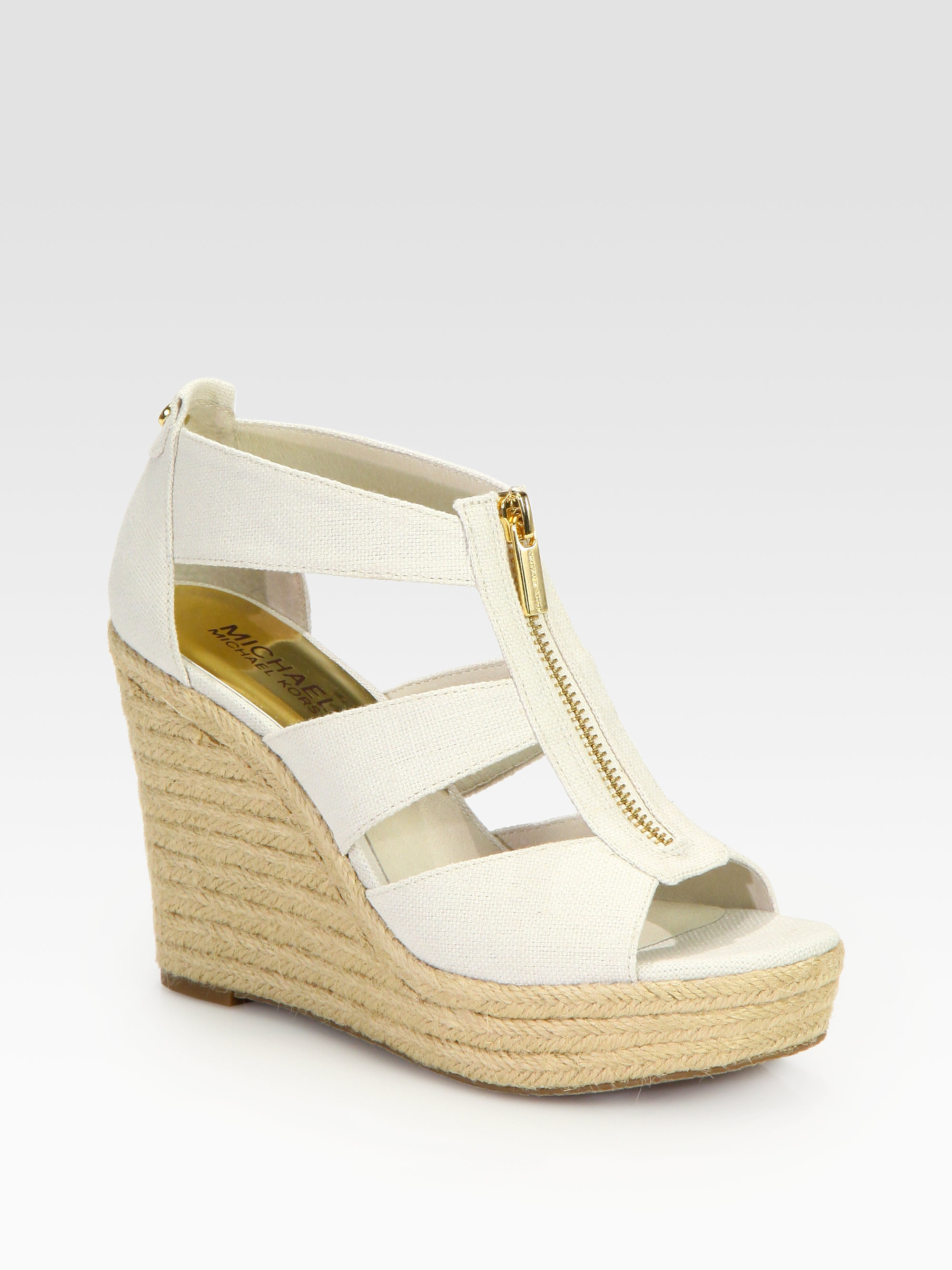 b94448e9d840 Lyst - MICHAEL Michael Kors Damita Canvas Espadrille Wedges in White