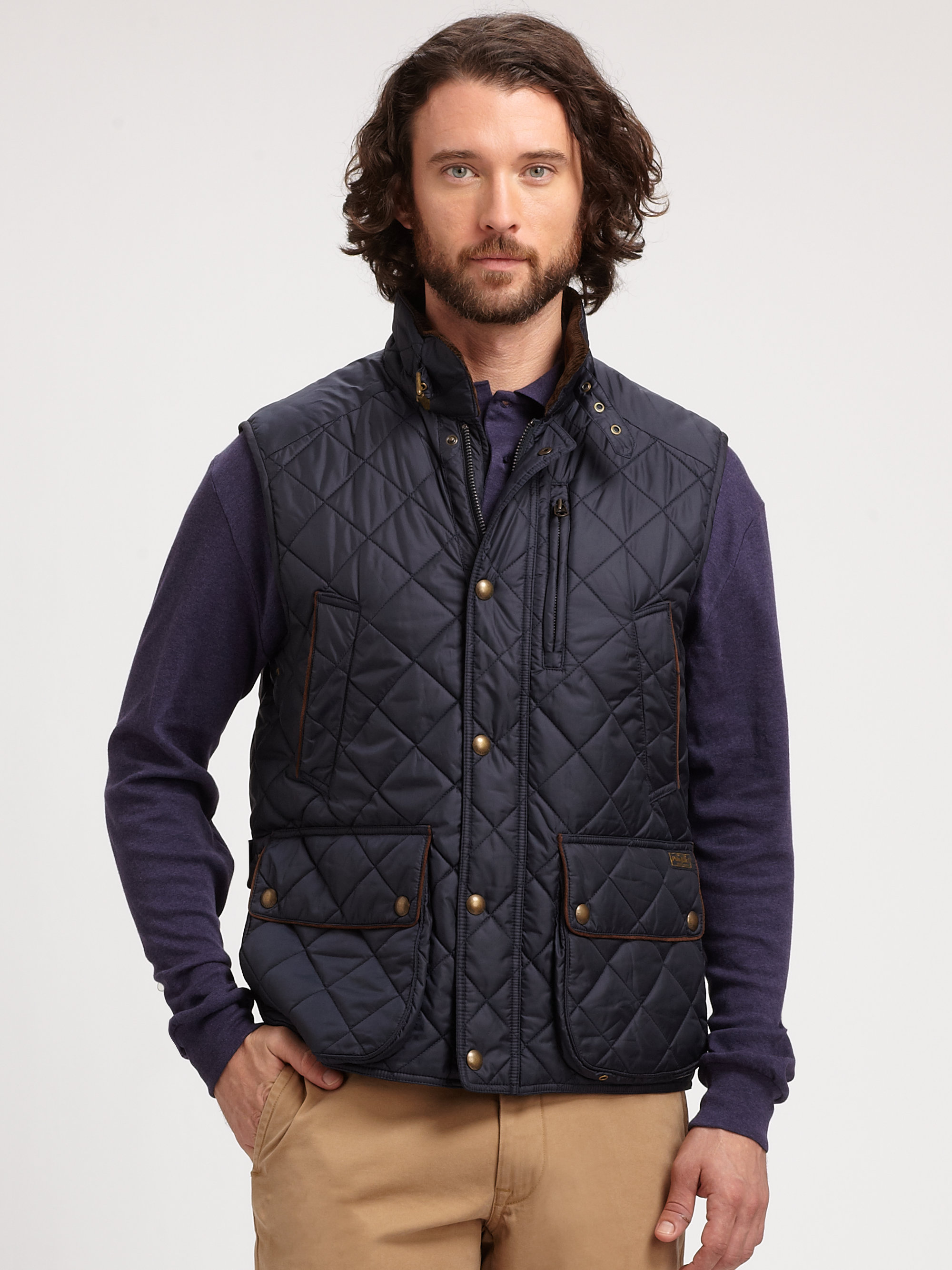 Polo Ralph Lauren Epson Quilted Vest In Blue For Men Lyst
