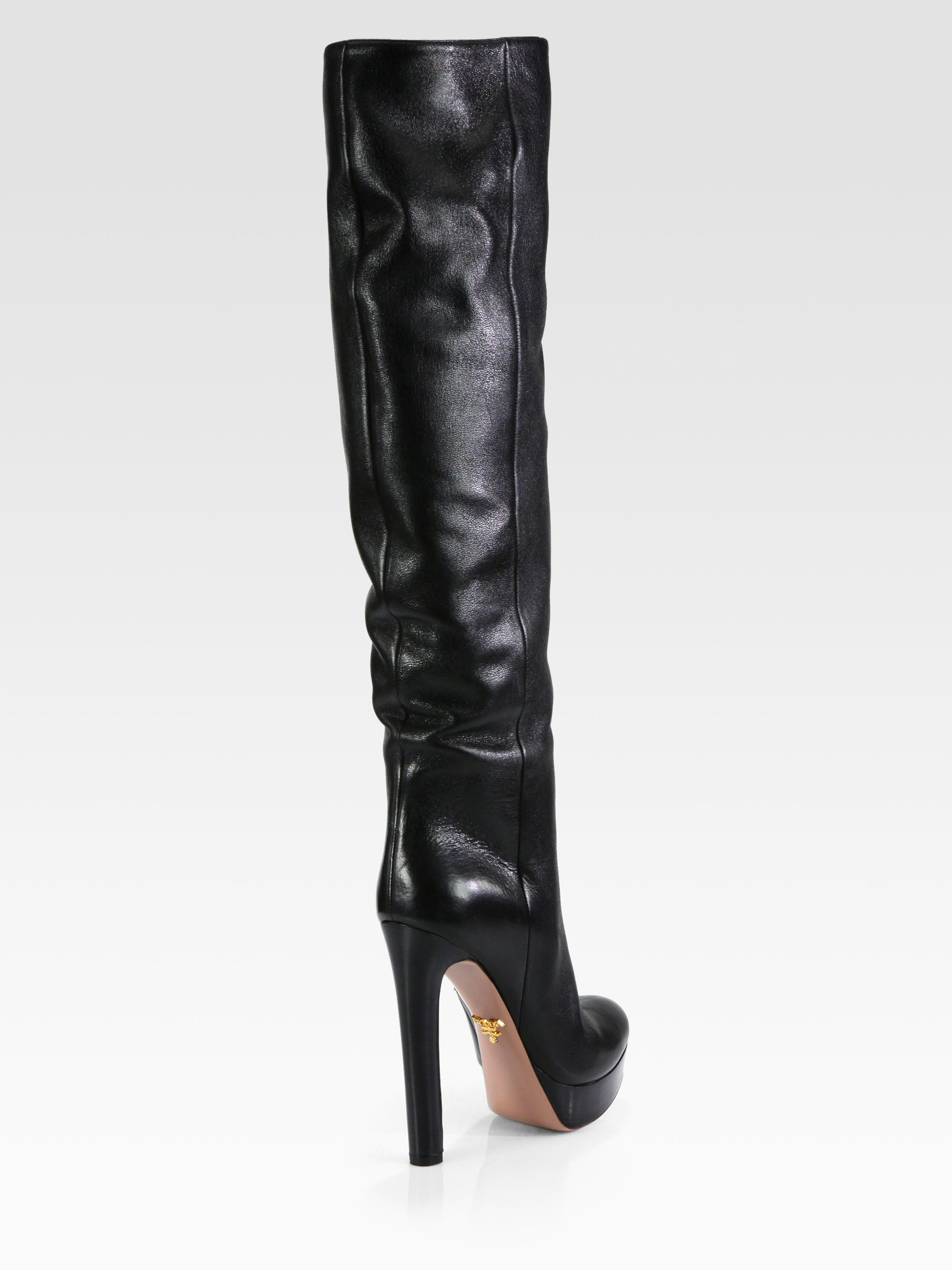 Prada Leather Knee-High Boots clearance how much PXlWCA