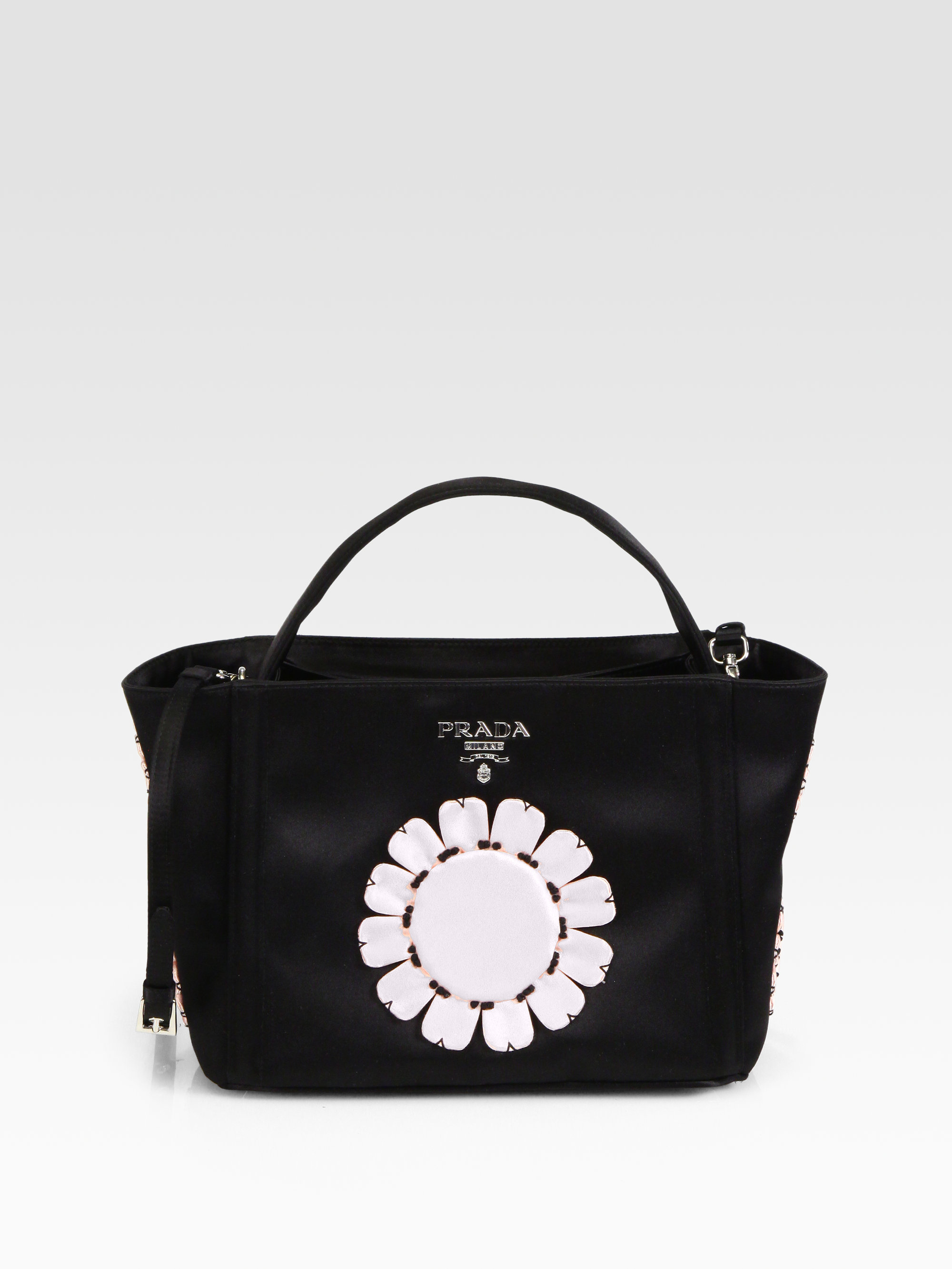prada suede purse - Prada Raso Flower Satin Basket Bag in Black (black pink) | Lyst