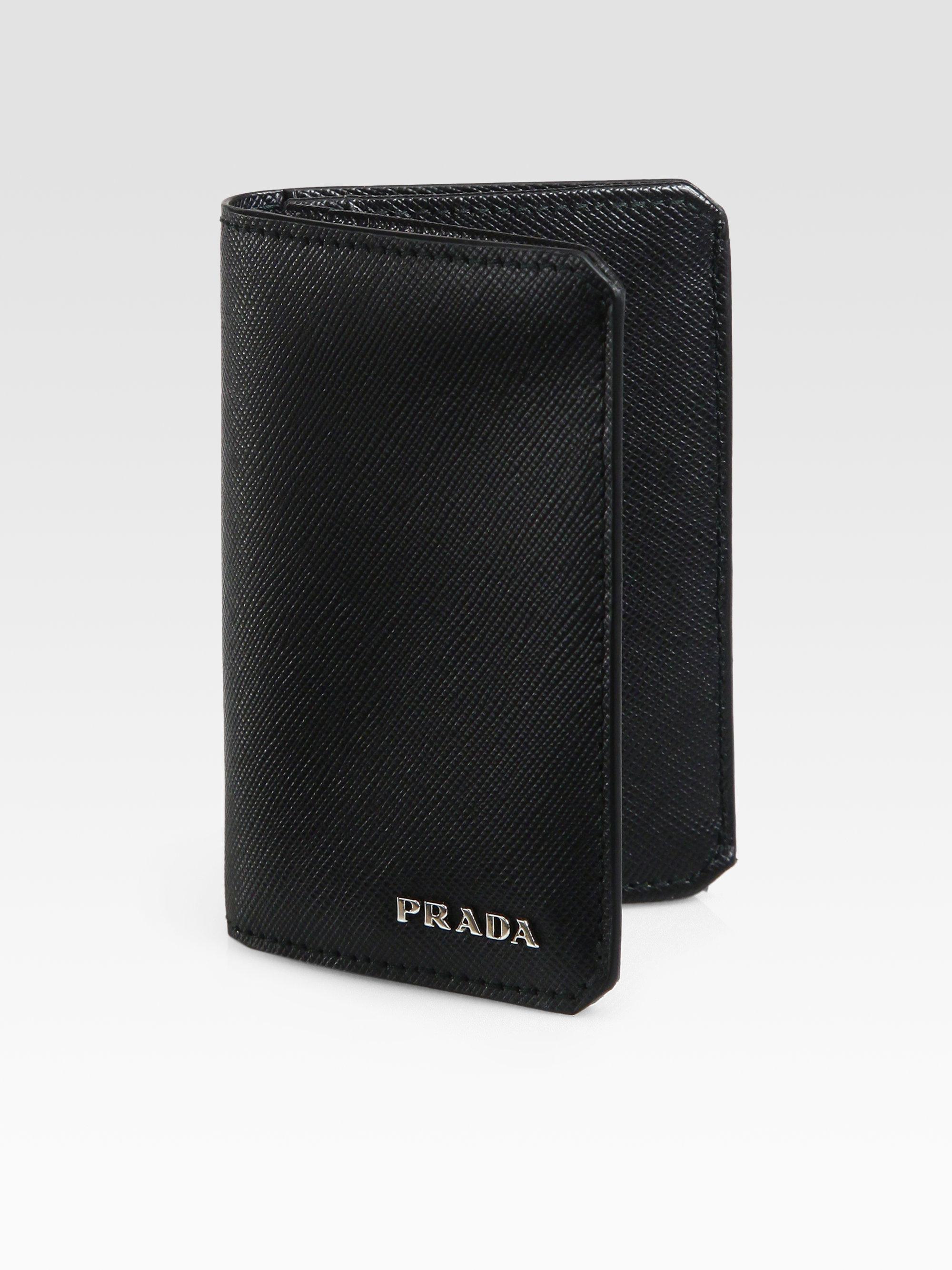 b2d19e2756ca5b Prada Saffiano Leather Credit Card Case in Black for Men - Lyst
