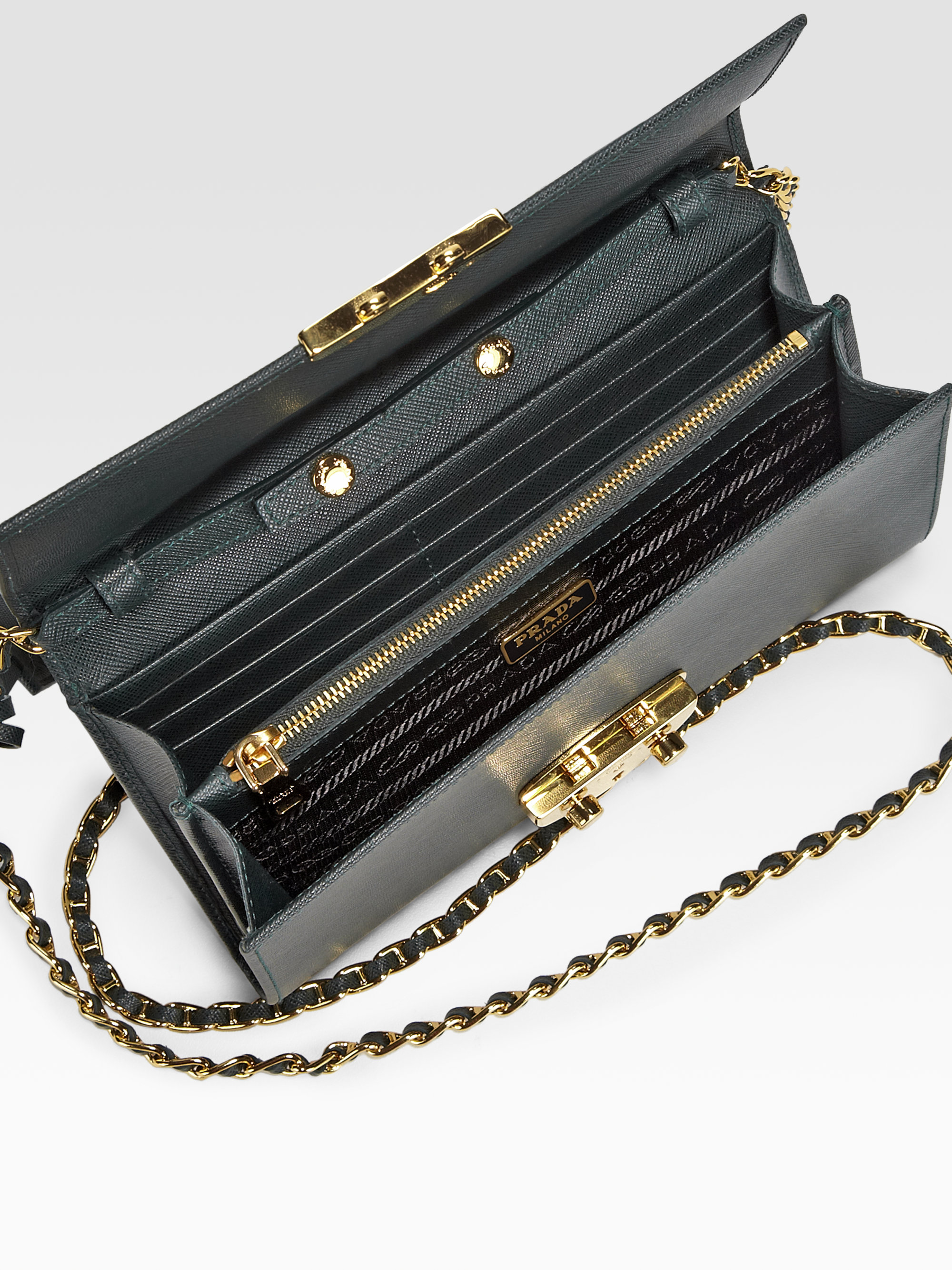 Prada saffiano chain wallet Clearance 2018 Sale Perfect Best Place To Buy Buy Cheap Limited Edition WECsrJZSU6