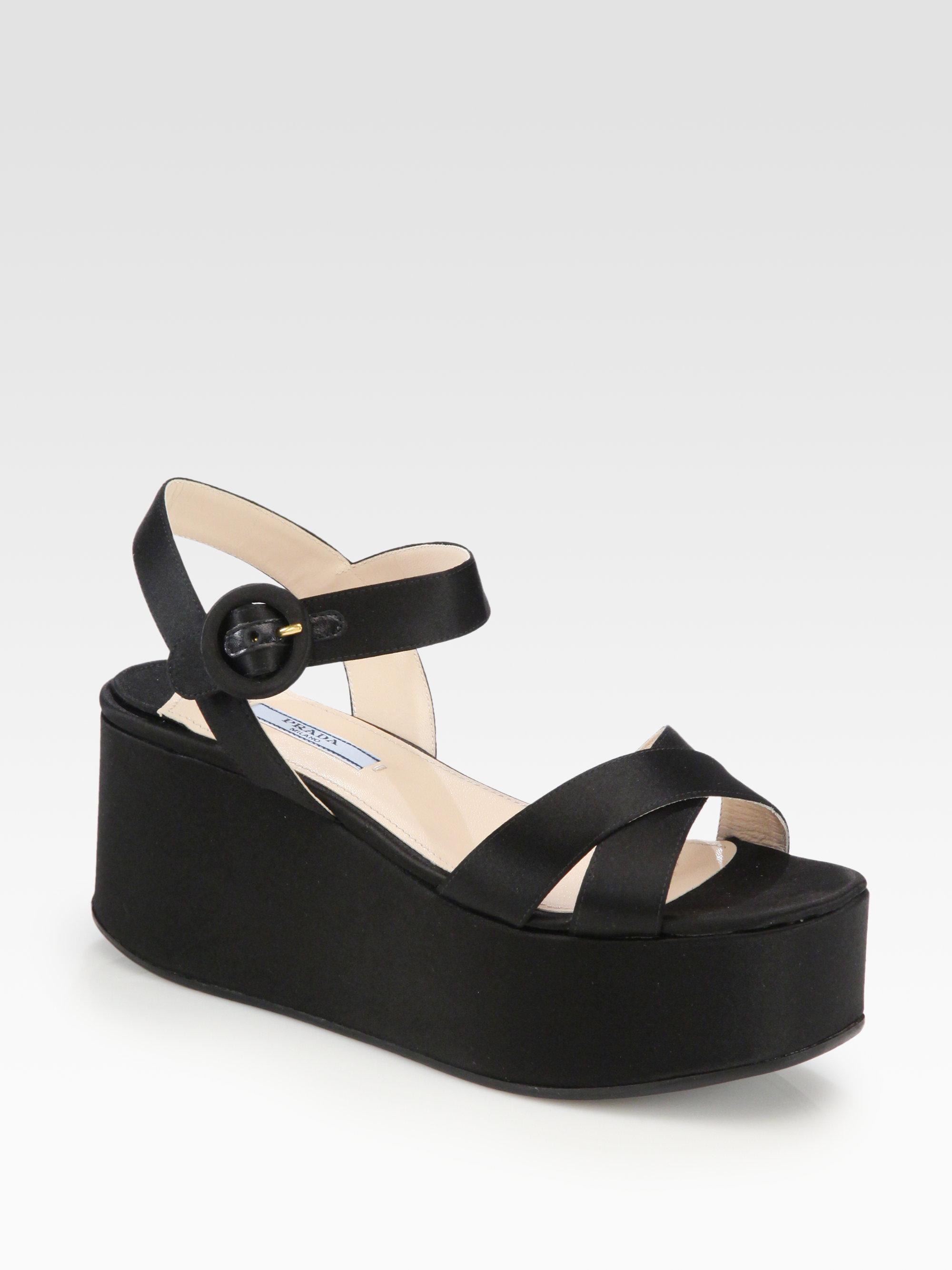 5855f6dff81f Lyst - Prada Satin Platform Wedge Sandals in Black