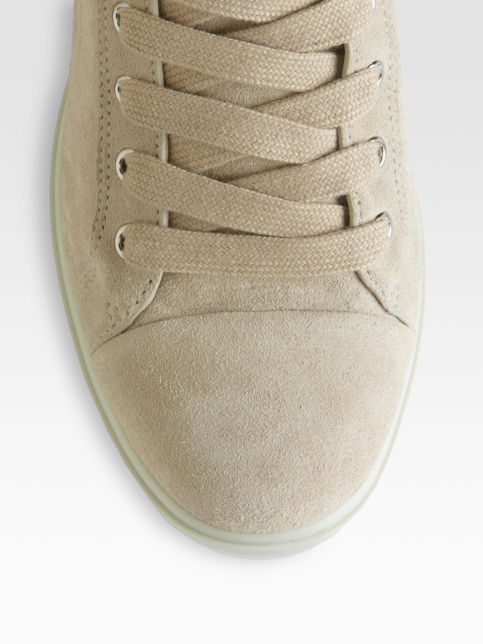 0371ca626fd Lyst - Prada Suede Laceup Wedge Sneakers in Natural