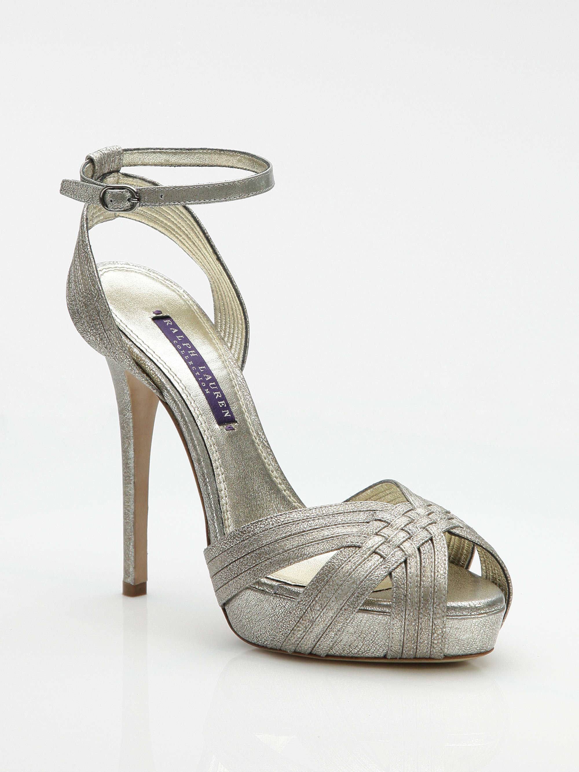 d00295210cb Lyst - Ralph Lauren Collection Metallic Leather Strappy Sandals in ...