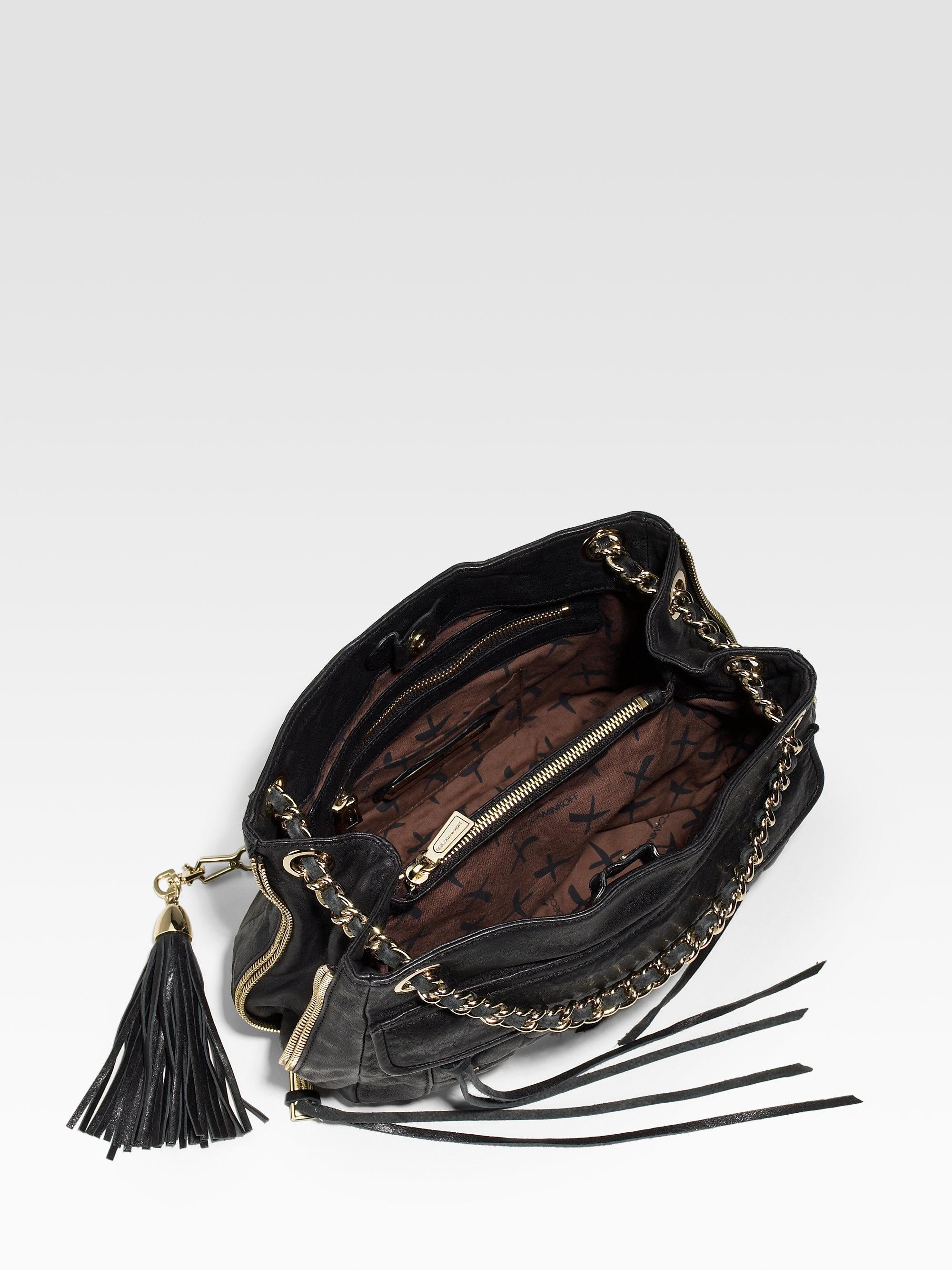 2e1d108b8a06 Lyst - Rebecca Minkoff Swing Double Zip Studded Chain Shoulder Bag ...