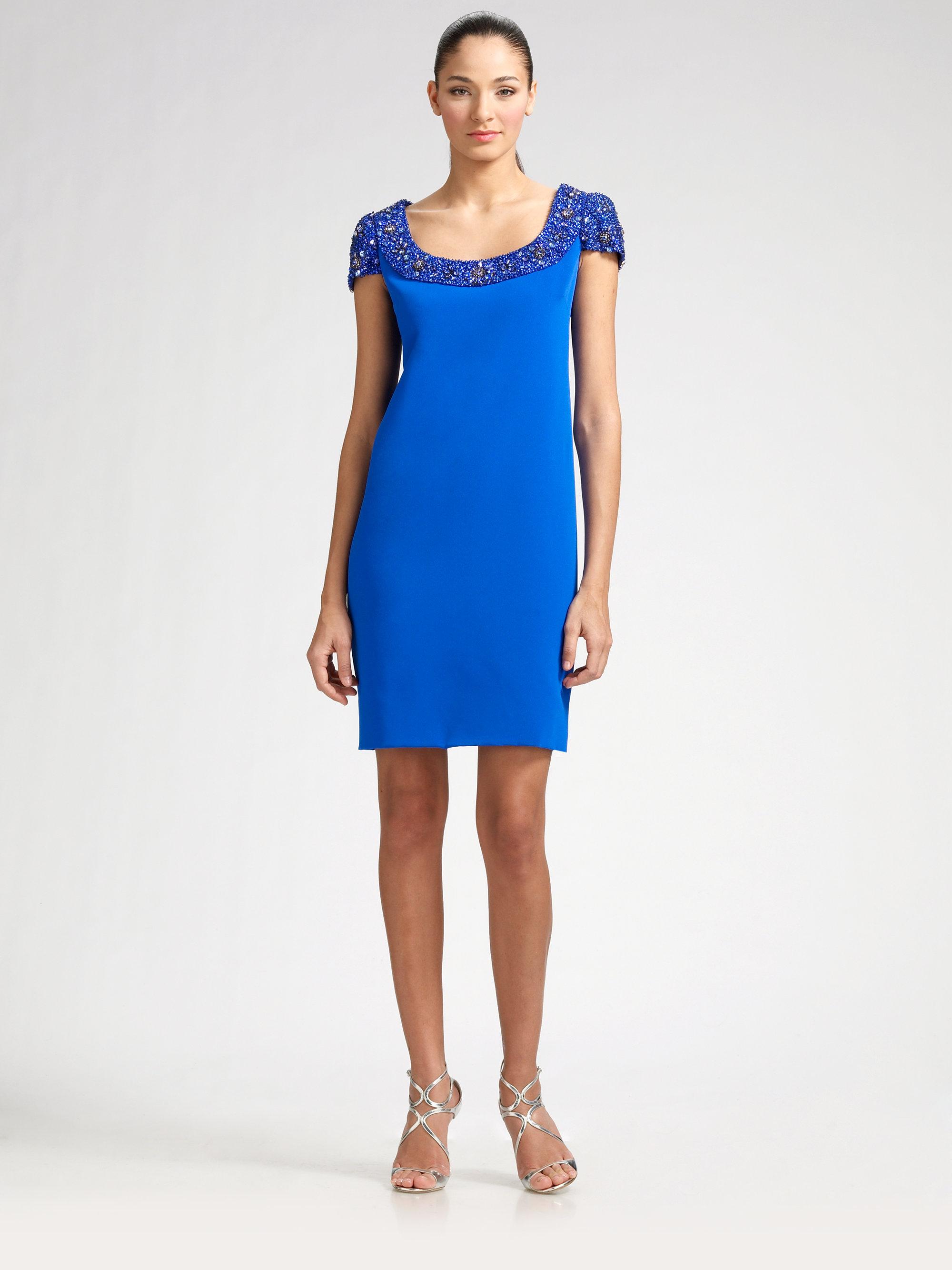 Teri jon Beaded Silk Sheath Dress in Blue | Lyst