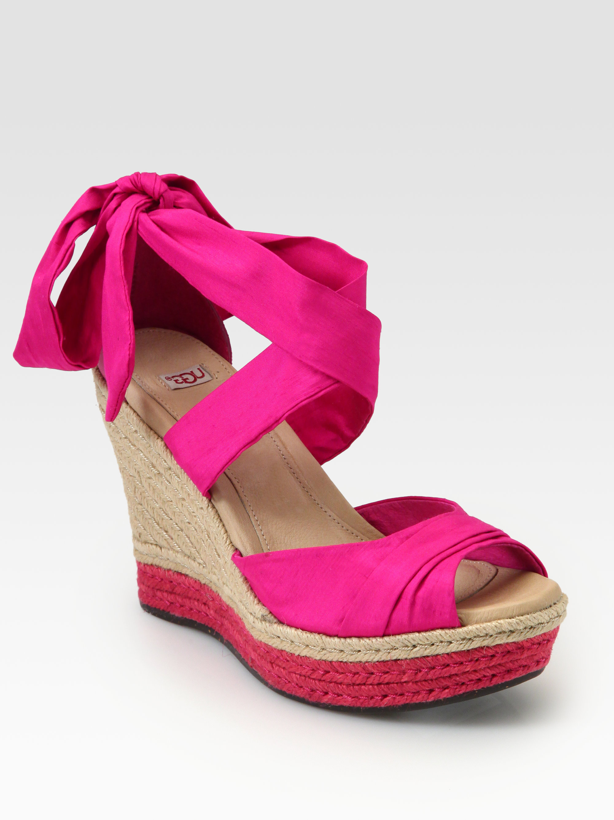 612bc158497 Lyst - UGG Lucianna Silk Leather Espadrille Wedges in Pink