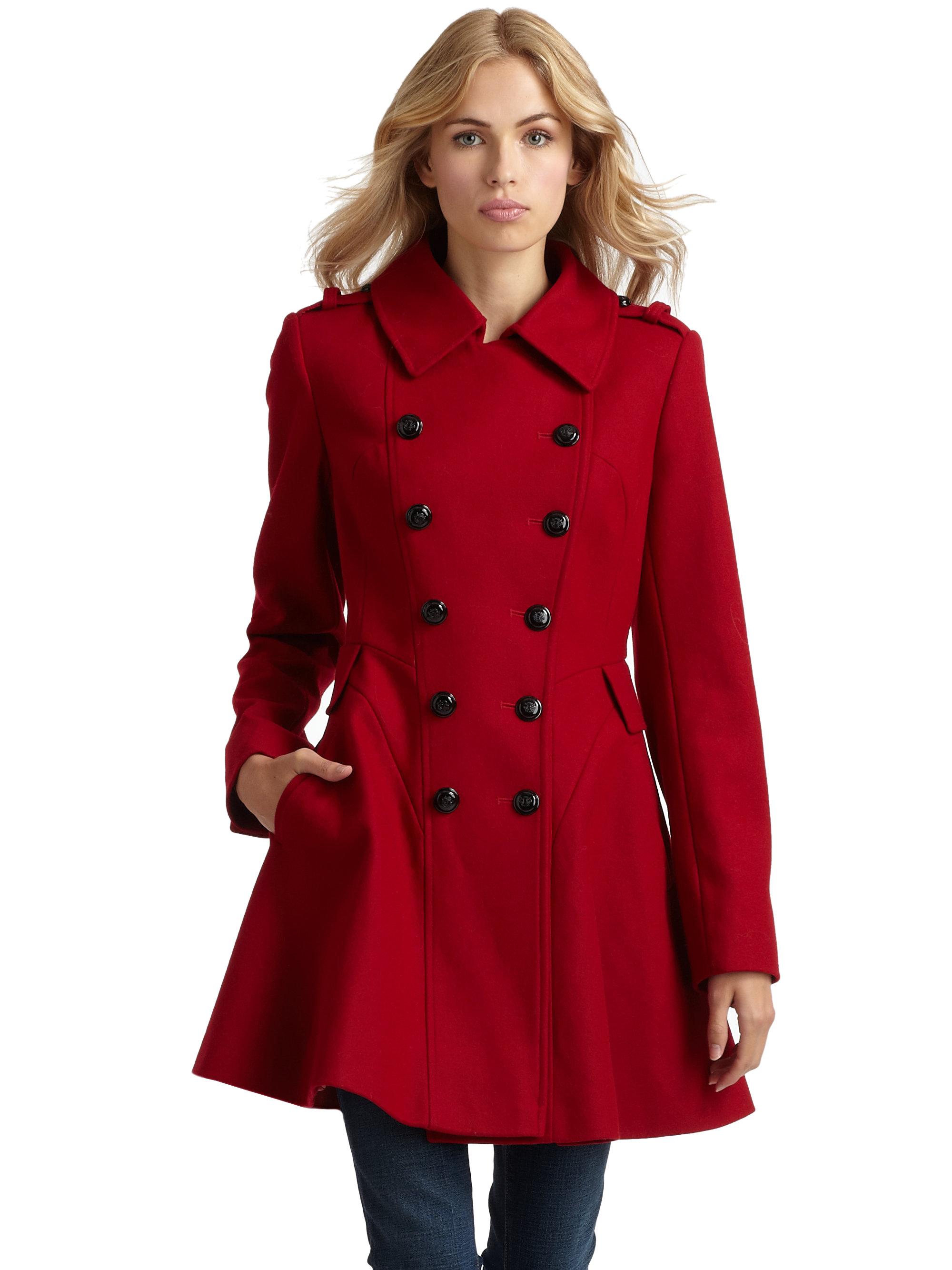Via spiga Wool Skating Coat in Red | Lyst