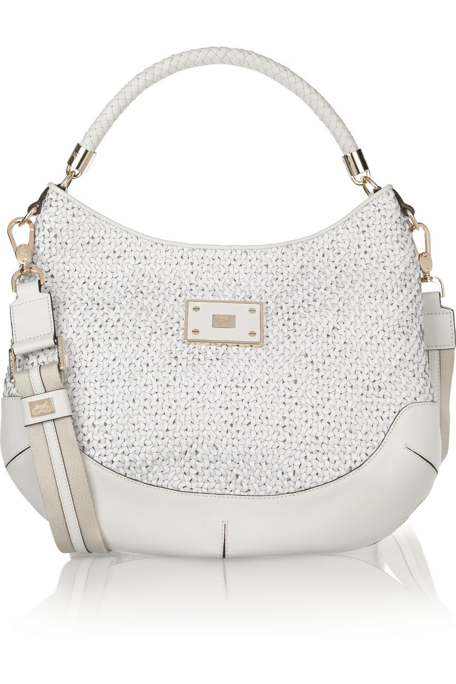 Anya hindmarch Jethro Woven Leather Shoulder Bag in White | Lyst