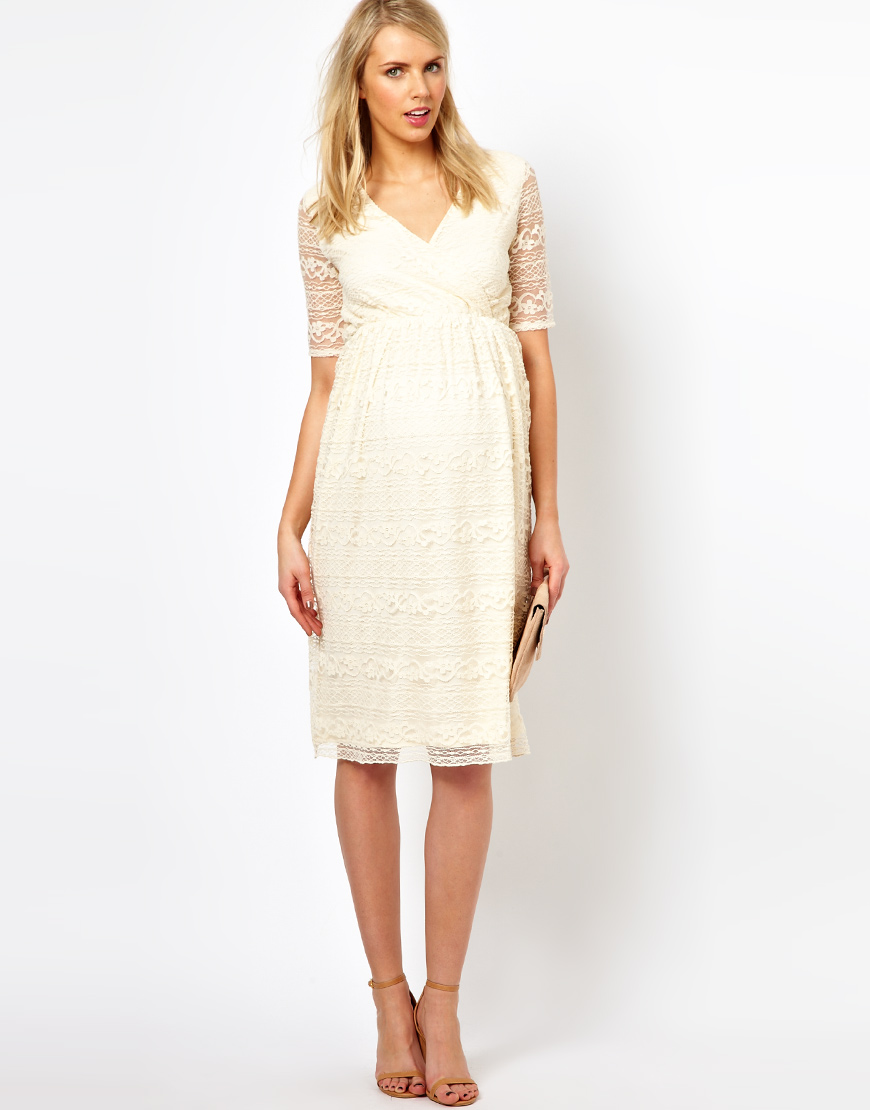7b5bd30bc0d5f ASOS Maternity Midi Dress in Lace in White - Lyst
