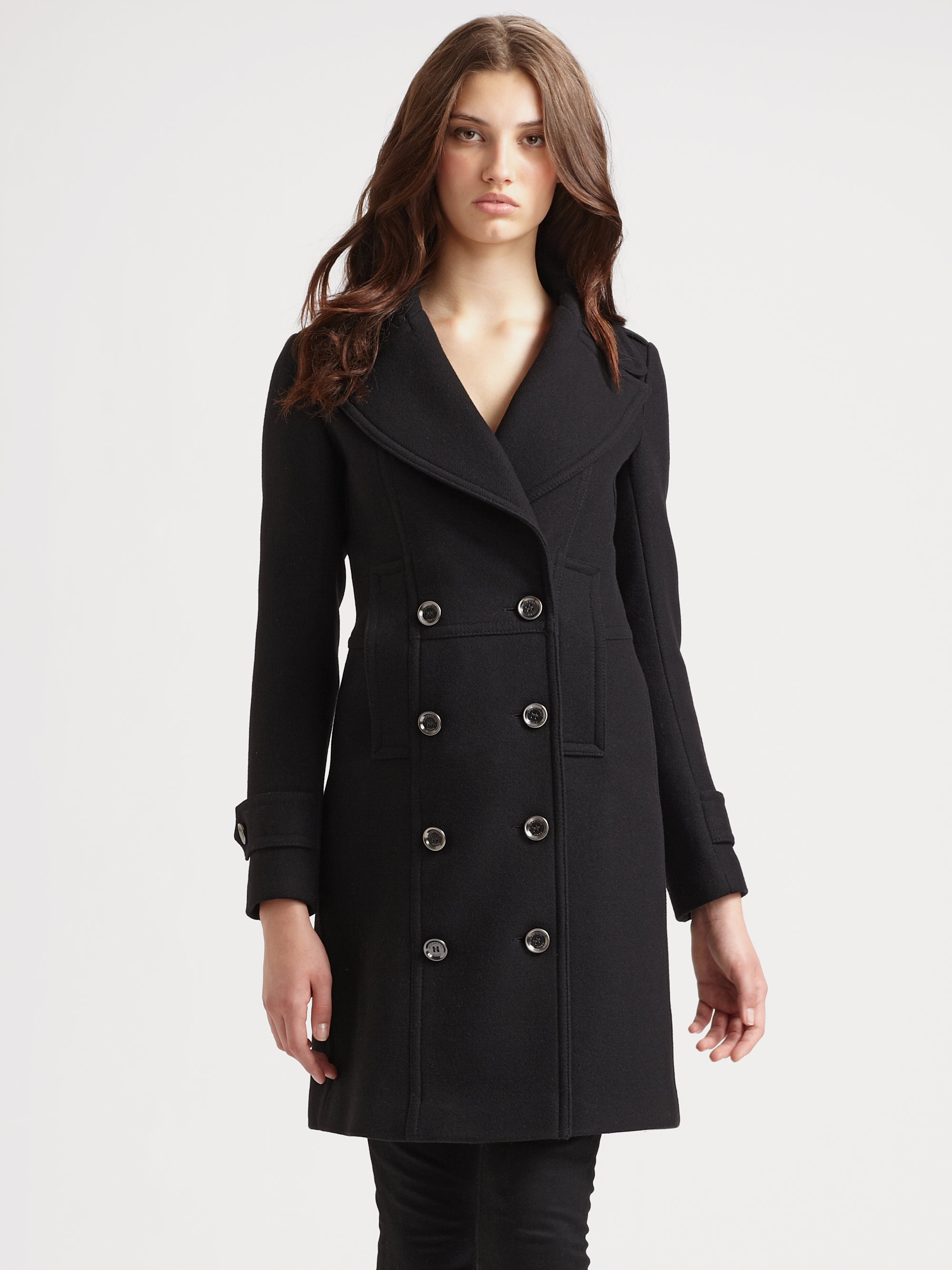 Burberry brit Double Breasted Wool Coat in Black | Lyst
