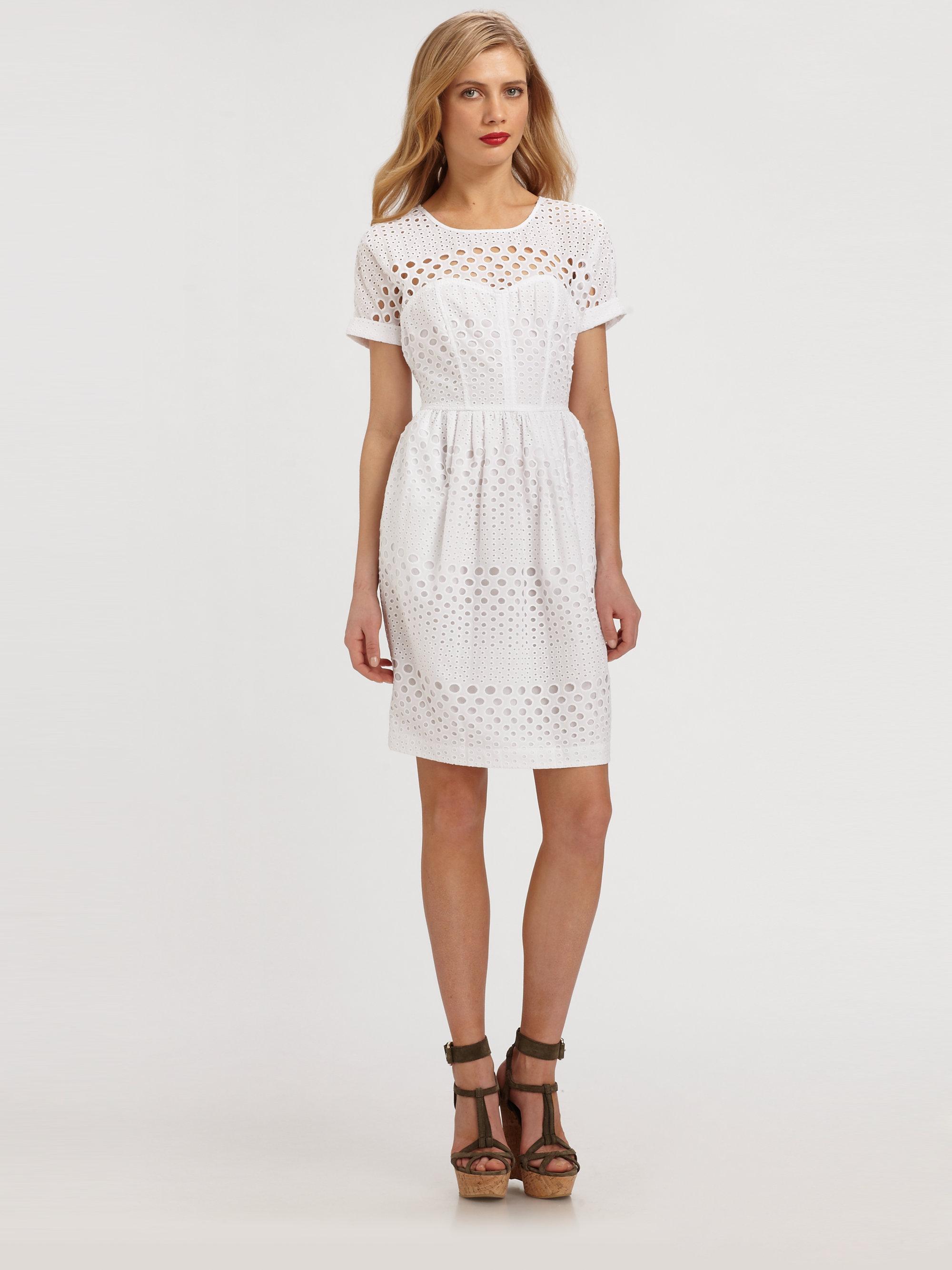 Burberry brit Cotton Eyelet Dress in White  Lyst
