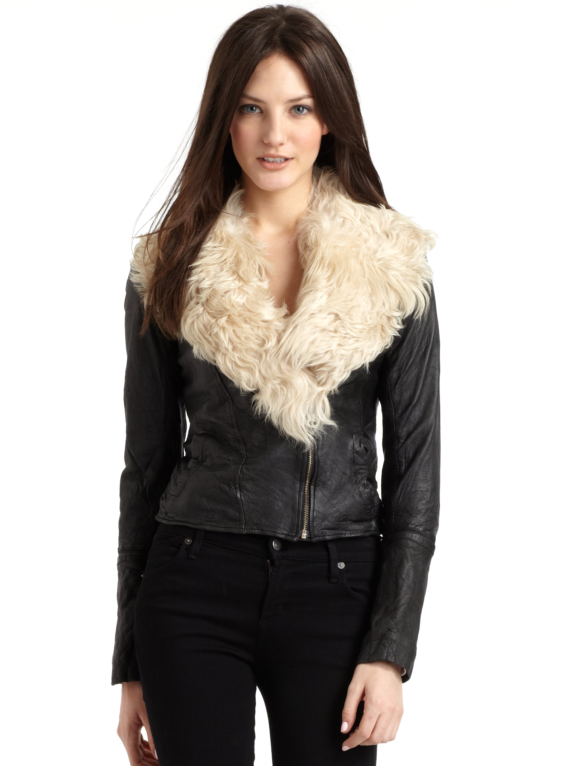 Doma leather Leather Jacket With Goat Fur Collar in Black | Lyst