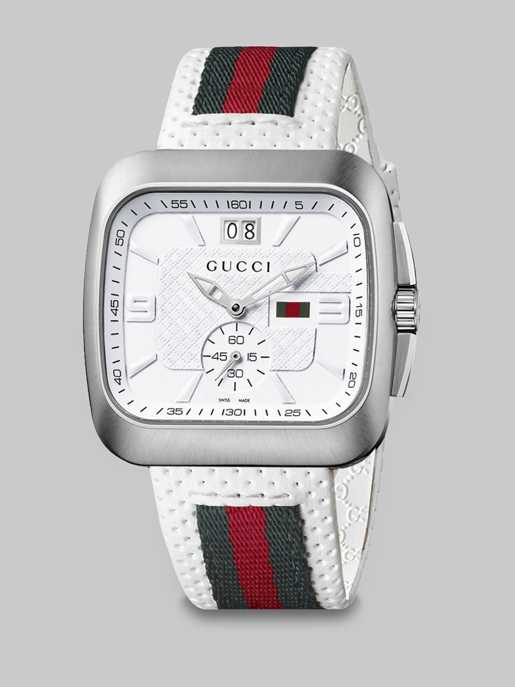 gucci square web amp leather strap watch in white for men