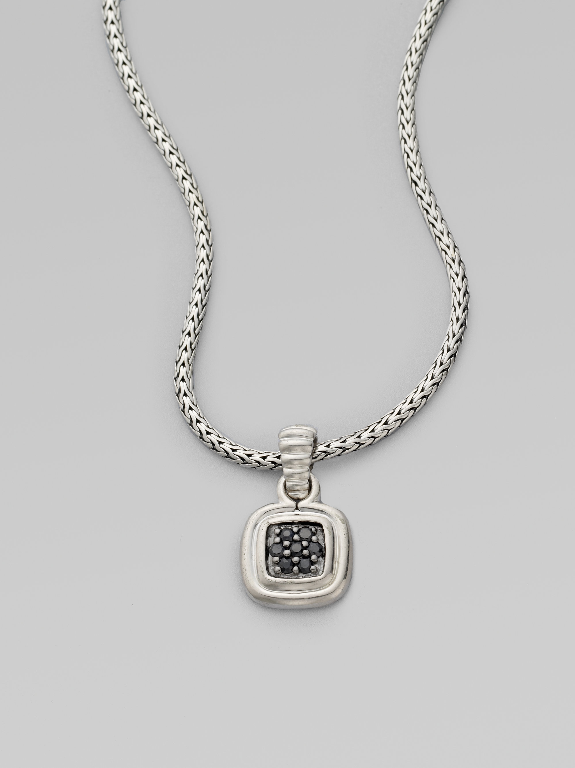 John Hardy Bedeg Pave Diamond Cushion Pendant Necklace Yotp3imp