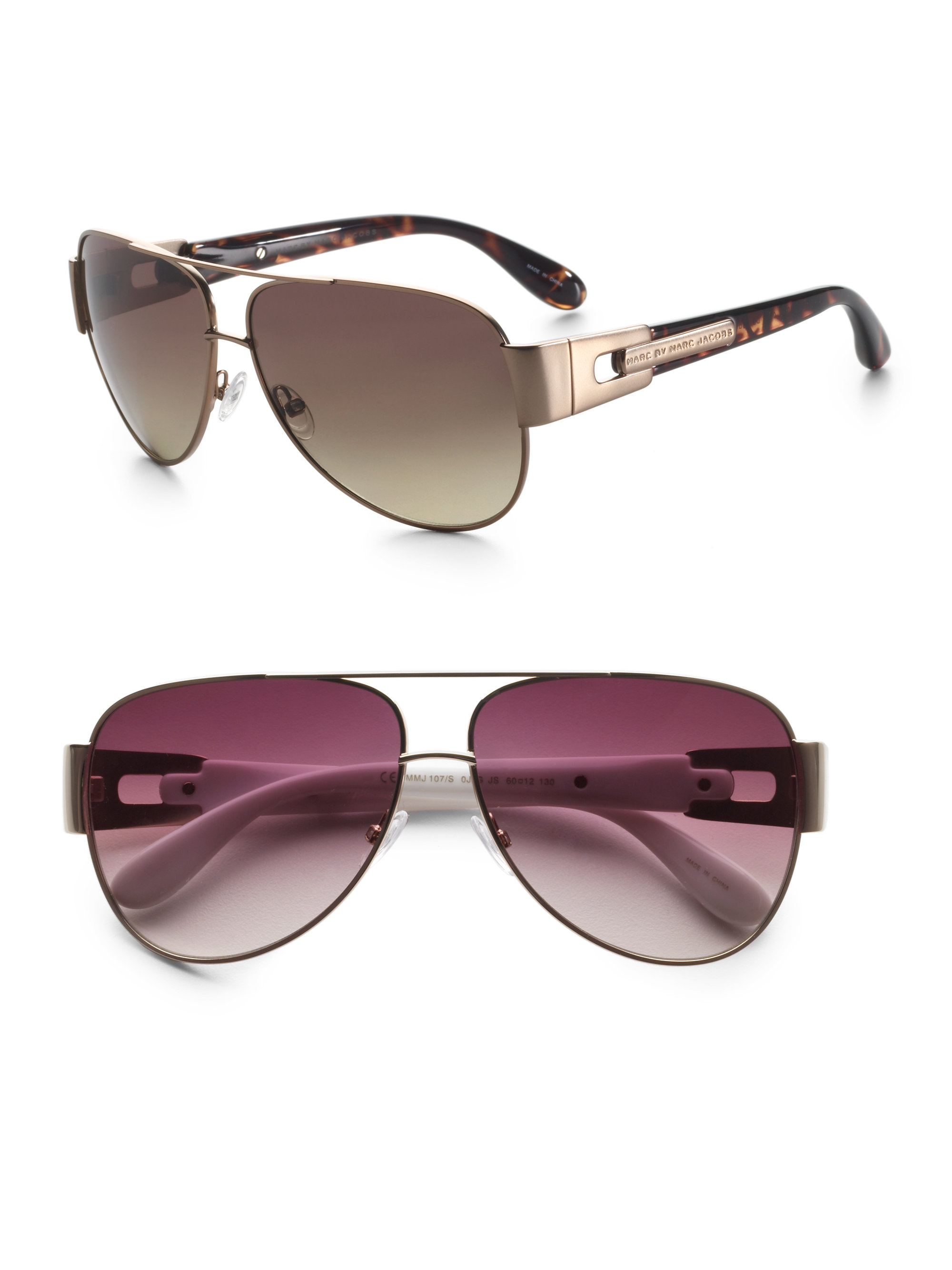 5fce98916c Marc By Marc Jacobs New Flat Brown Aviator Sunglasses