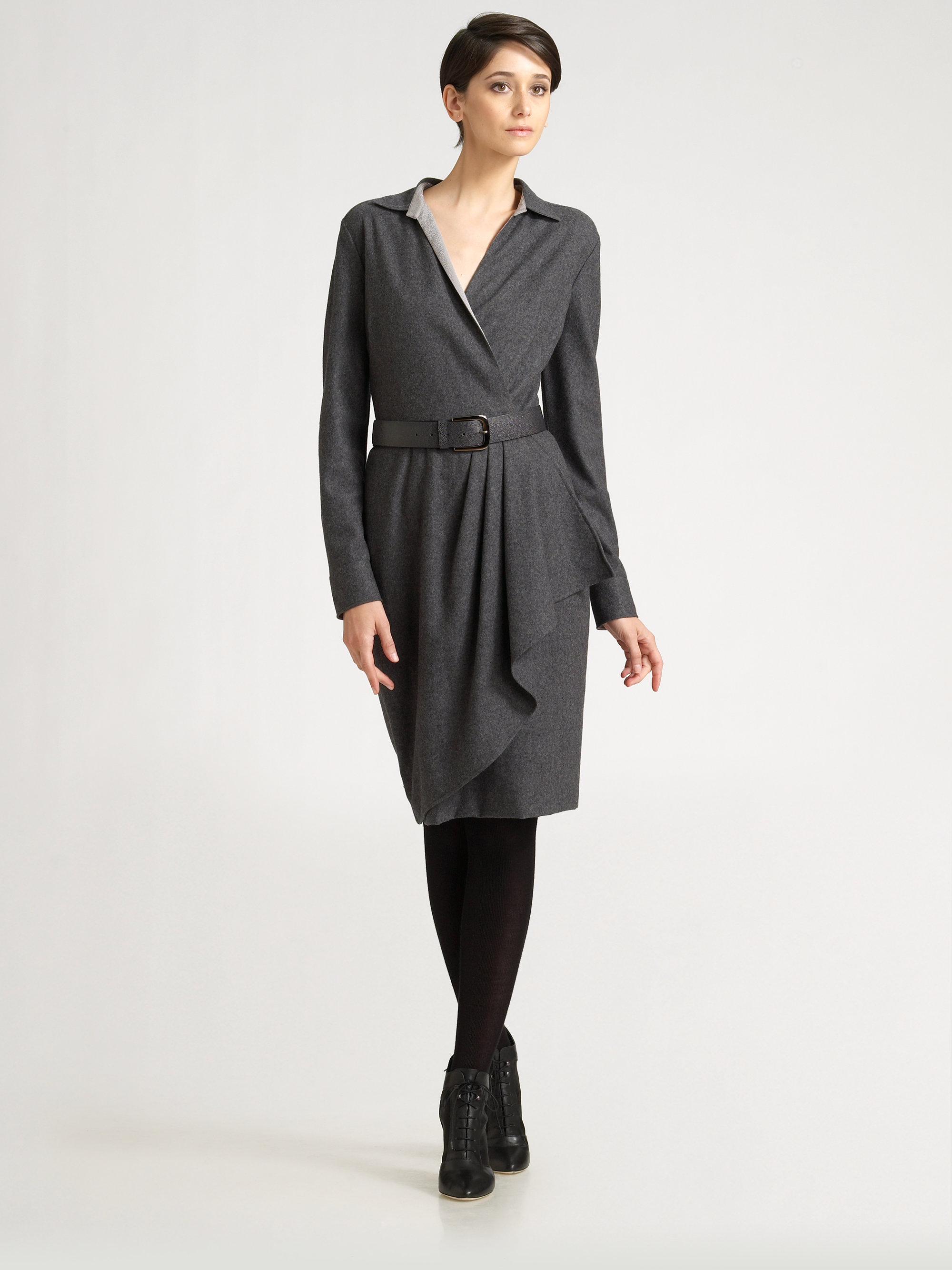 max mara agro belted wrap dress in gray medium grey lyst