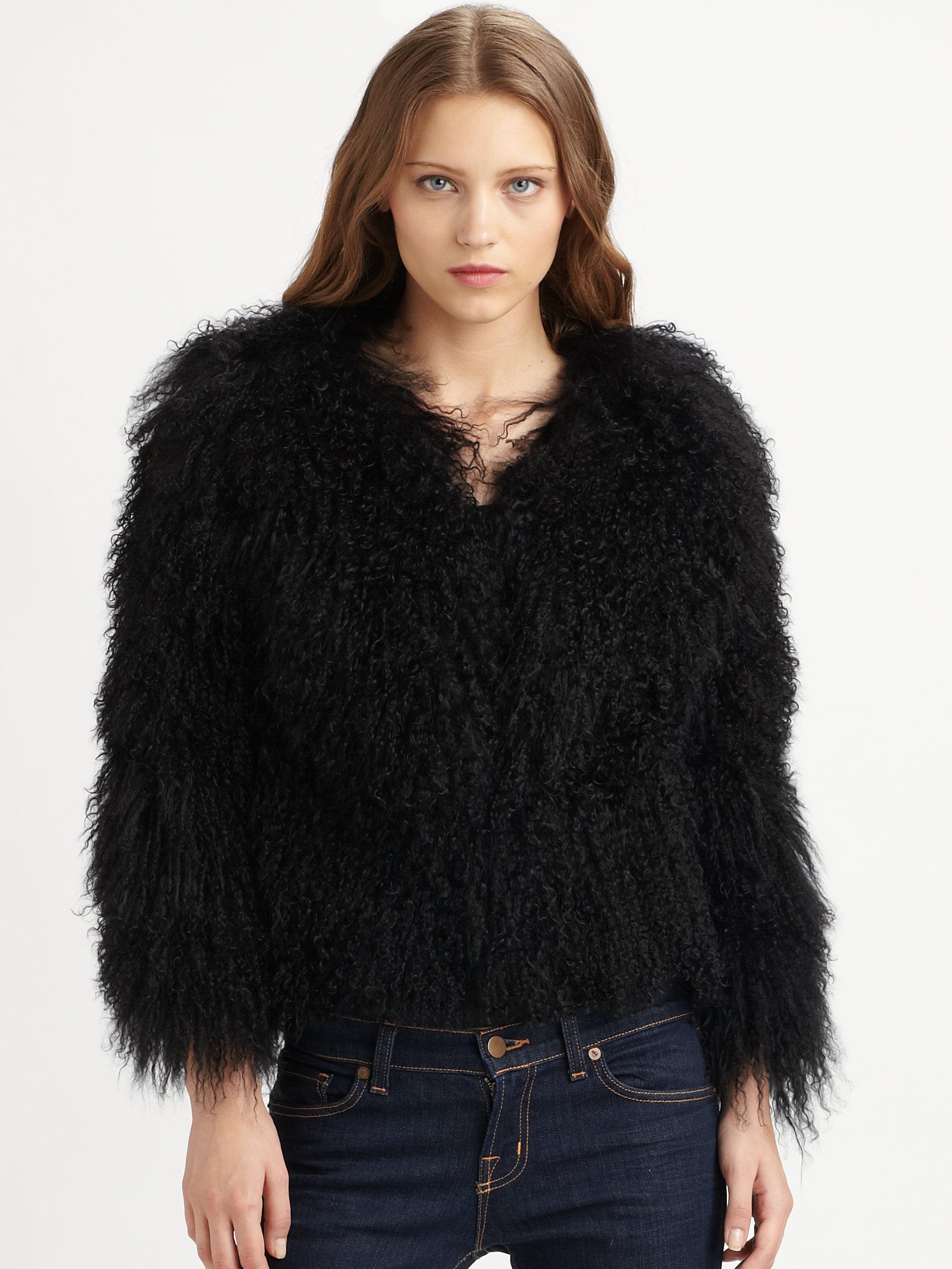Michael michael kors Mongolian Lamb Fur Coat in Black | Lyst
