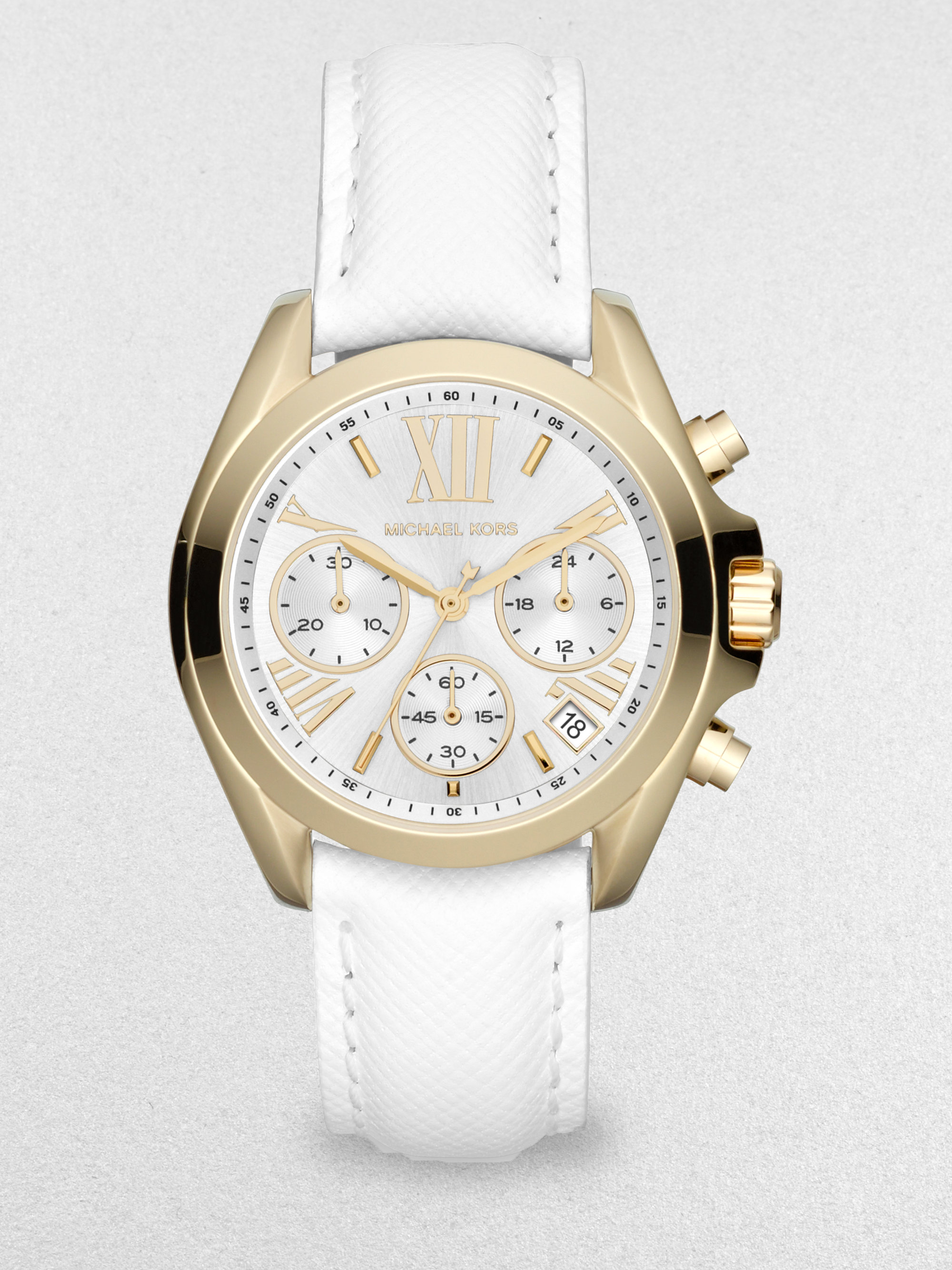 michael kors goldtone stainless steel leather chronograph