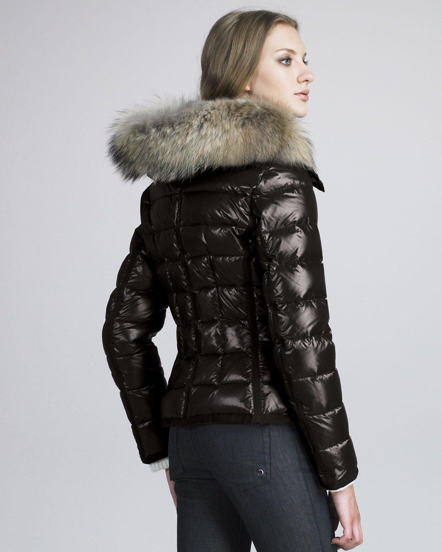 Moncler Fur-trim Shiny Puffer Jacket