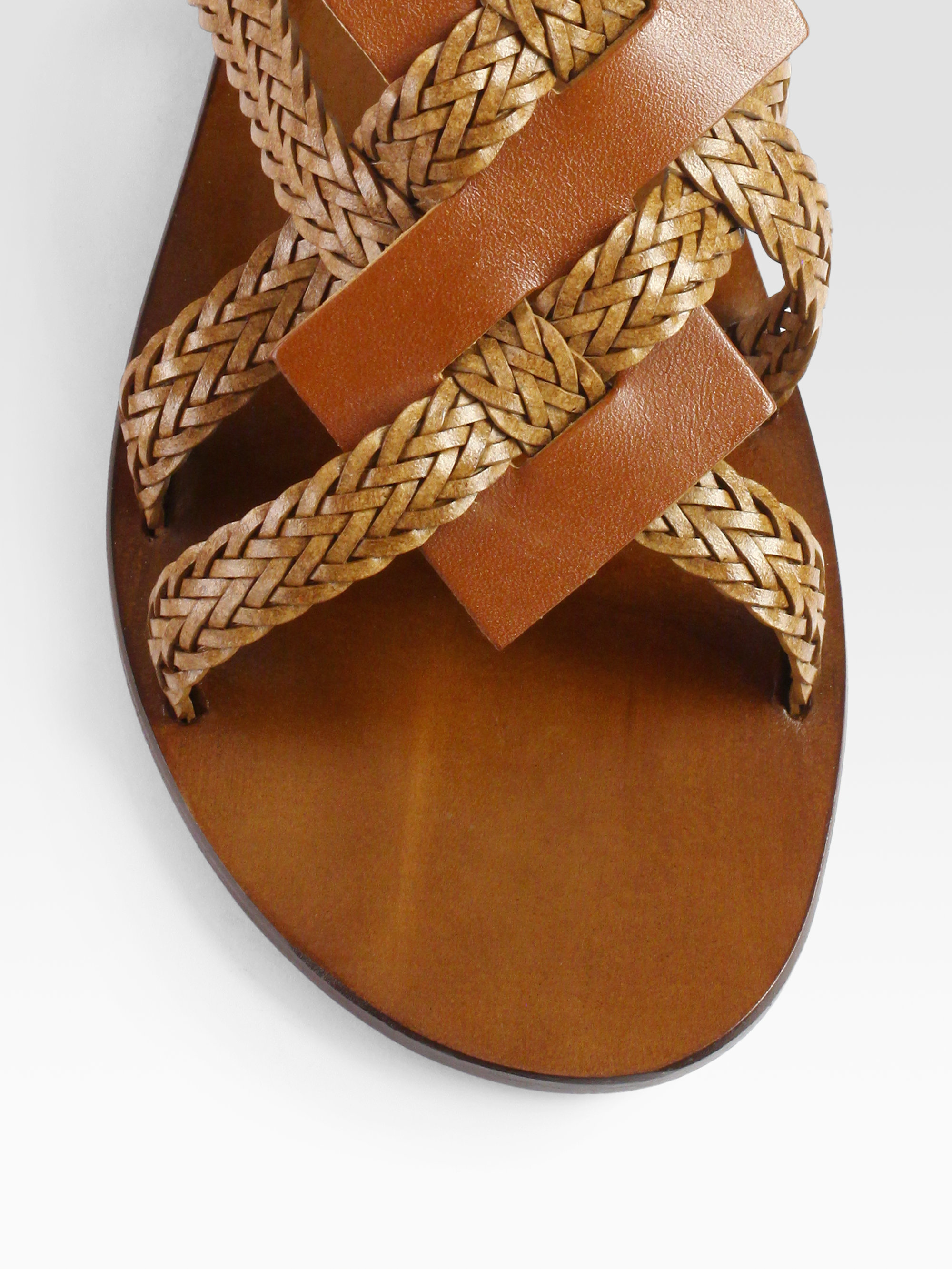 Lyst Pollini Braided Leather Sandals