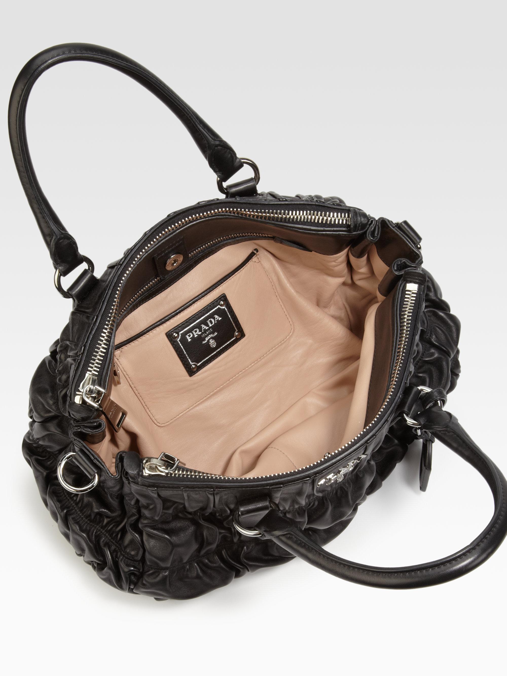 prada black leather shoulder bag - Prada Nappa Gaufre Ruched Leather Tote in Black | Lyst