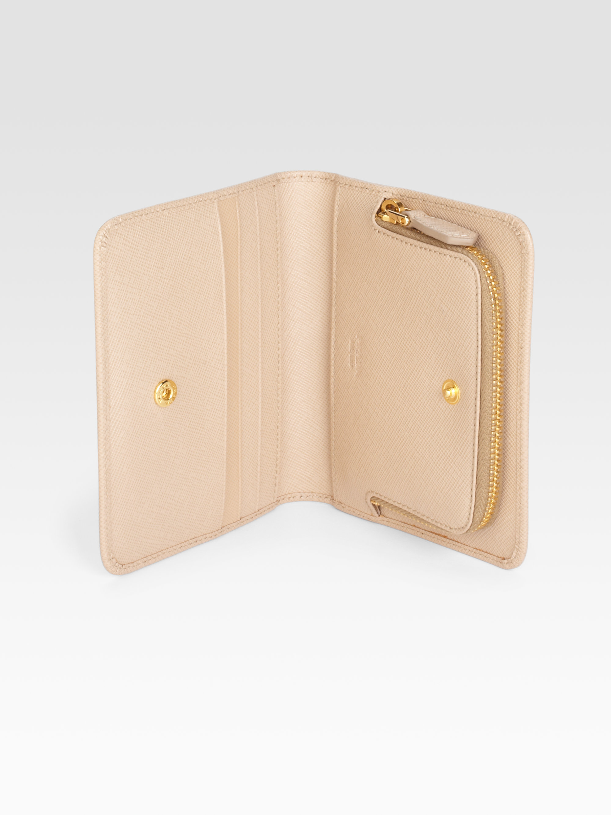 6371e2848bcd ... purchase lyst prada saffiano metal wallet in natural 5612c 8339f