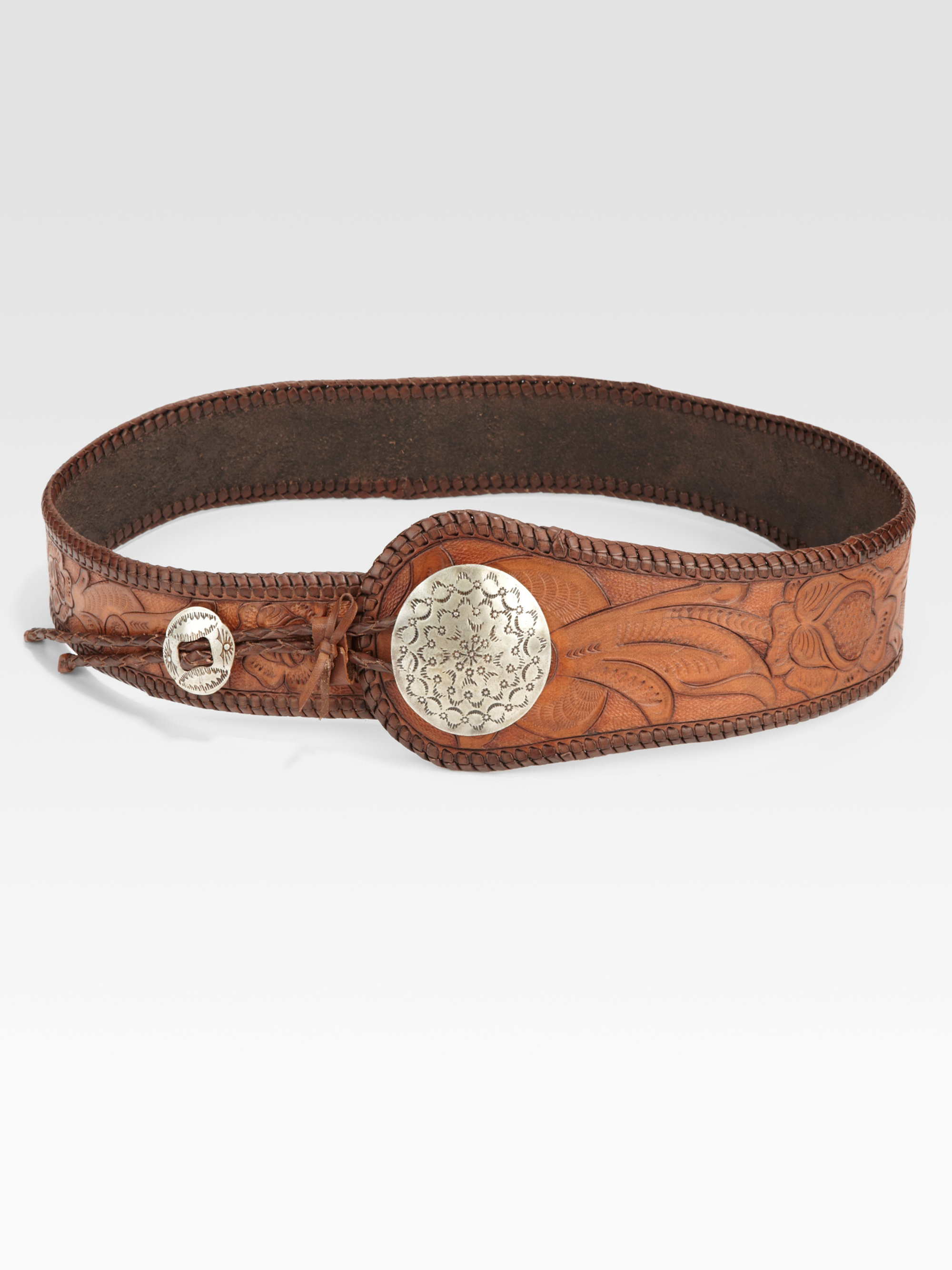 ralph blue label floral leather concho belt in