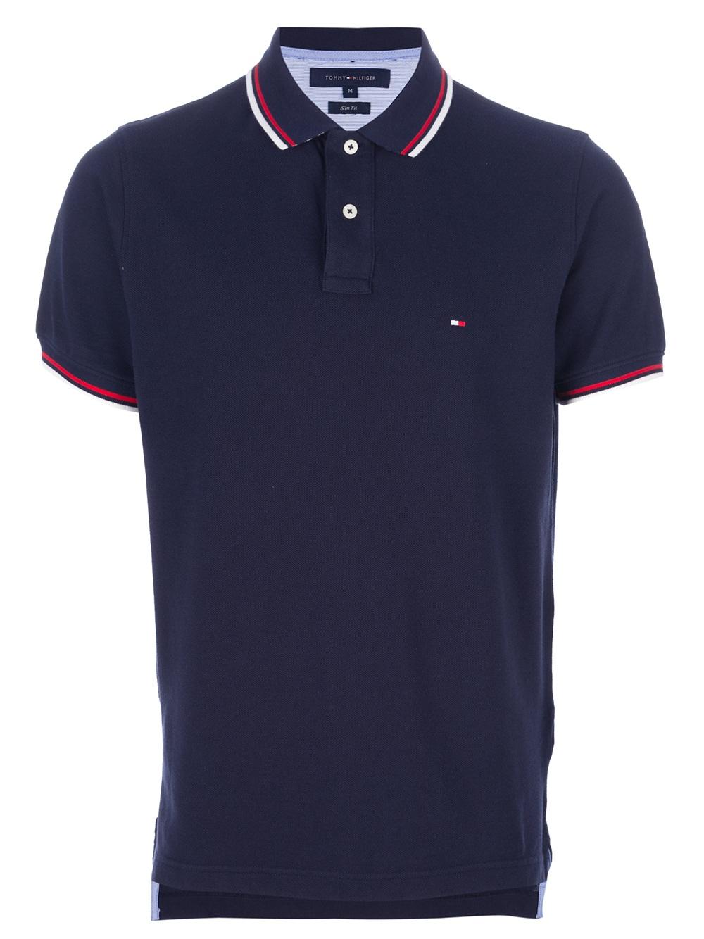 tommy hilfiger contrast trim polo shirt in blue for men lyst. Black Bedroom Furniture Sets. Home Design Ideas