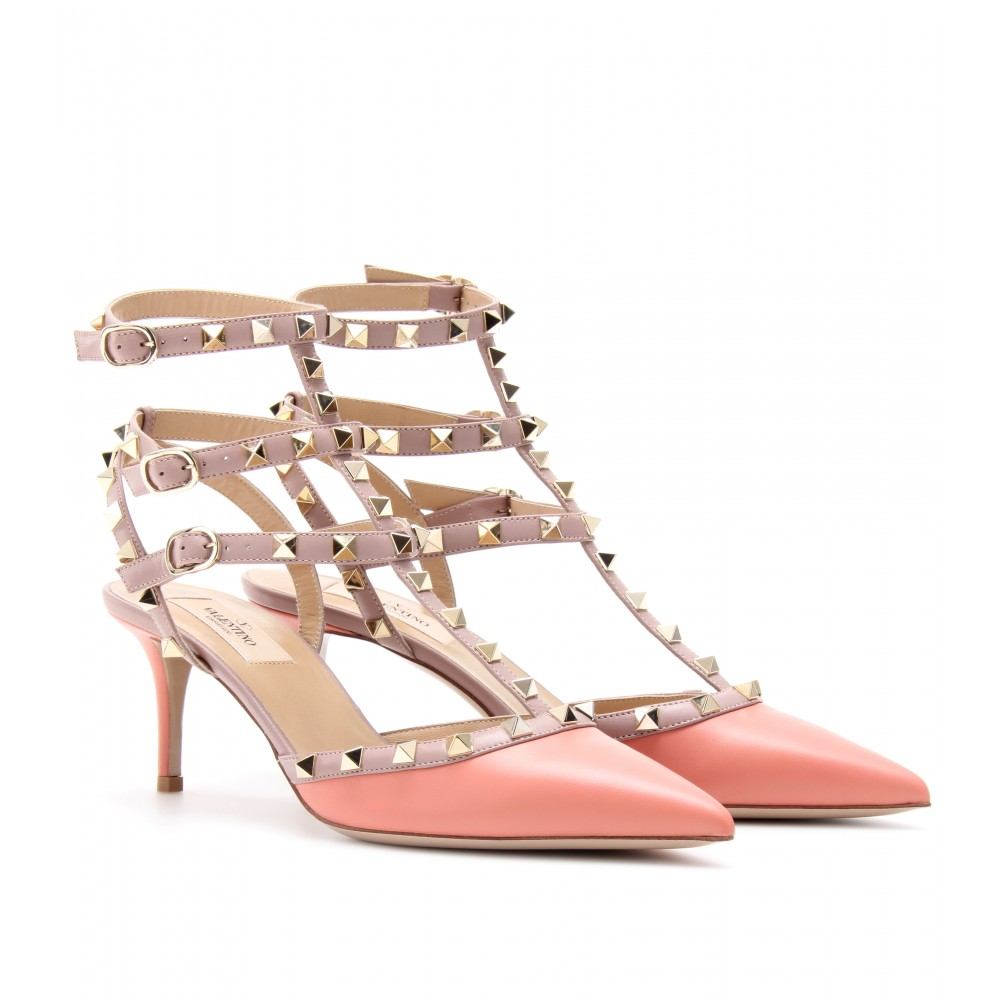 valentino rockstud leather kitten heel pumps in pink lyst. Black Bedroom Furniture Sets. Home Design Ideas