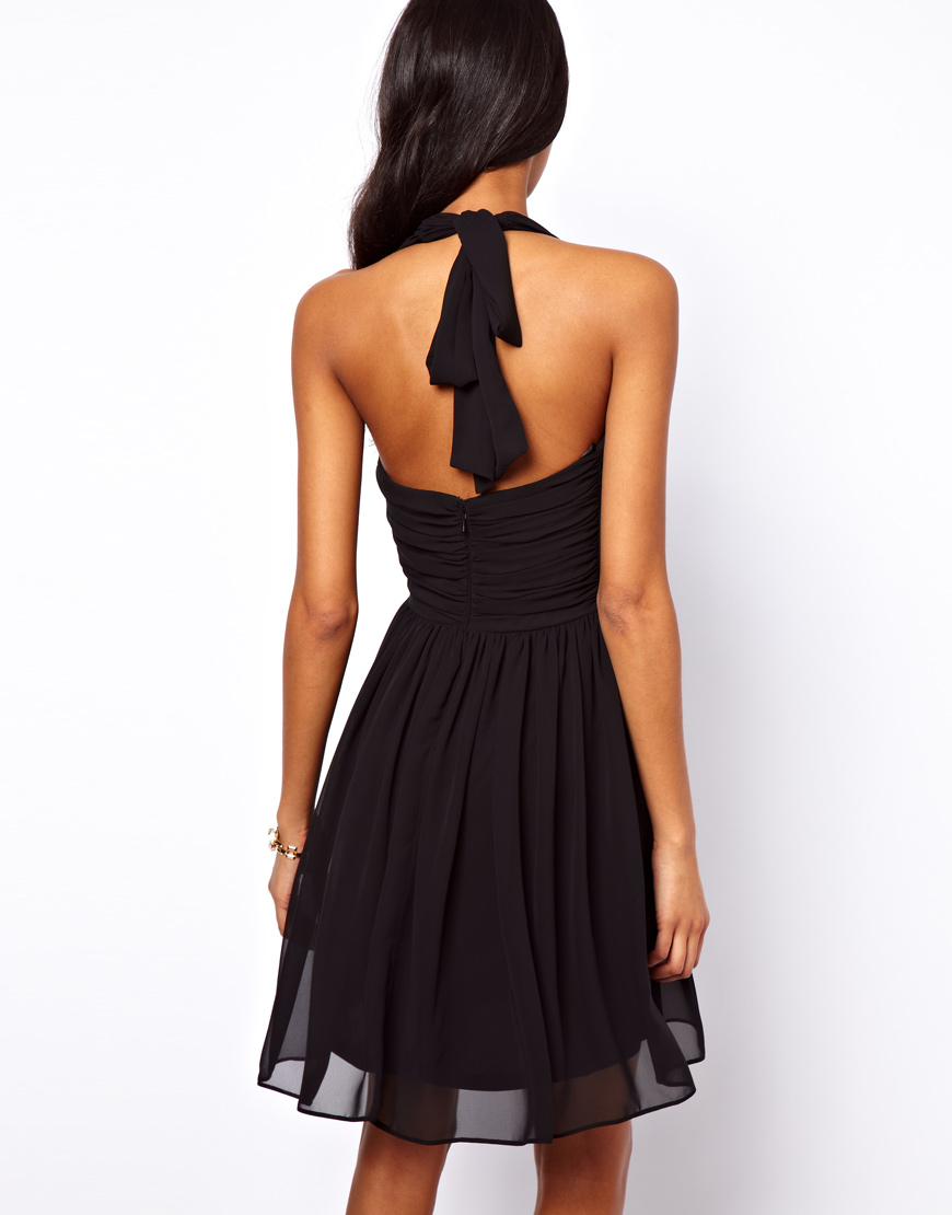 ca7f4c9dfe Lyst - ASOS Collection Skater Dress with Sexy Halter Neck in Black