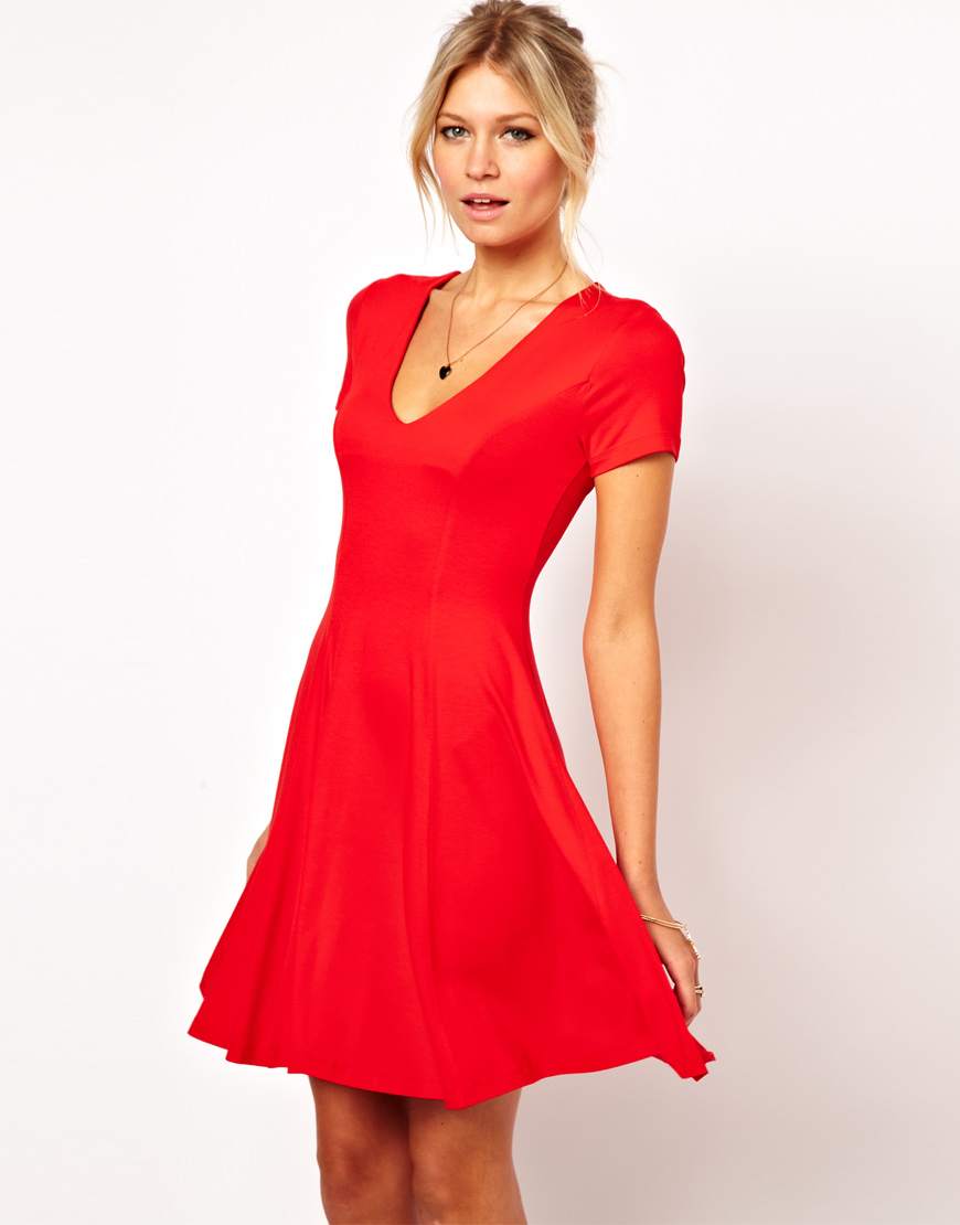 Asos collection Skater Dress with V Neck and Short Sleeves in Red ...