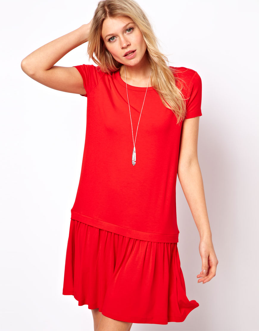 7048bf2dd Lyst - ASOS Collection T-Shirt Dress with Drop Waist in Red