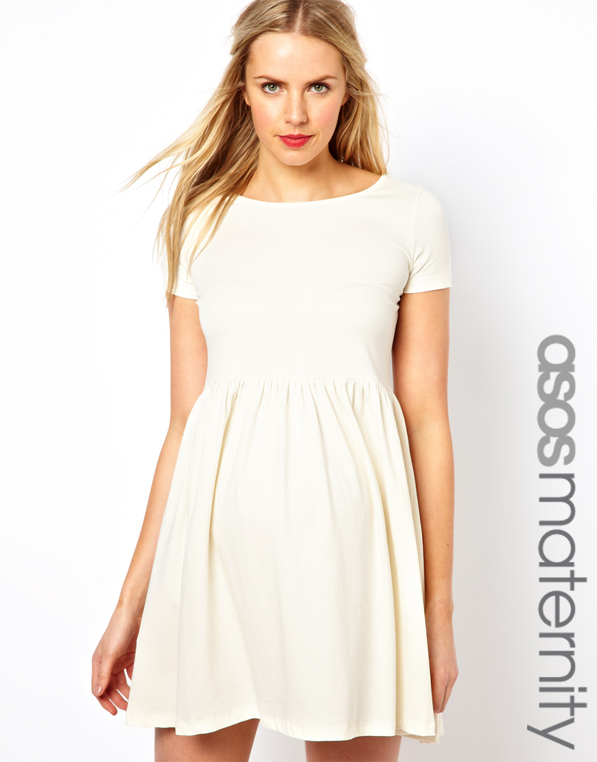 Lyst asos skater dress with slash neck and capped sleeve in natural gallery ombrellifo Images