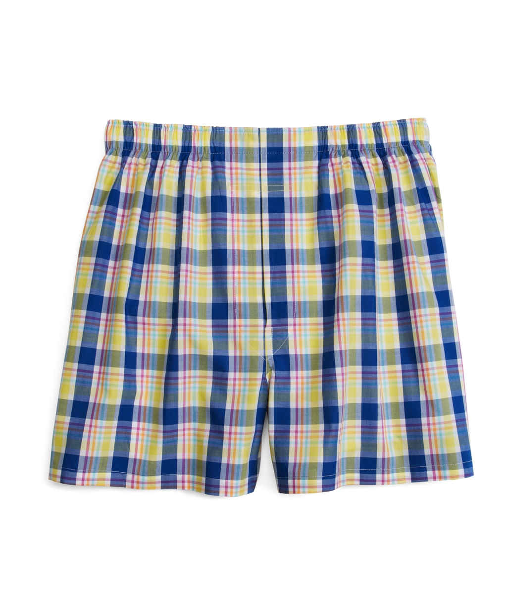 Brooks brothers slim fit yellow plaid boxers in blue for for Blue and yellow plaid dress shirt