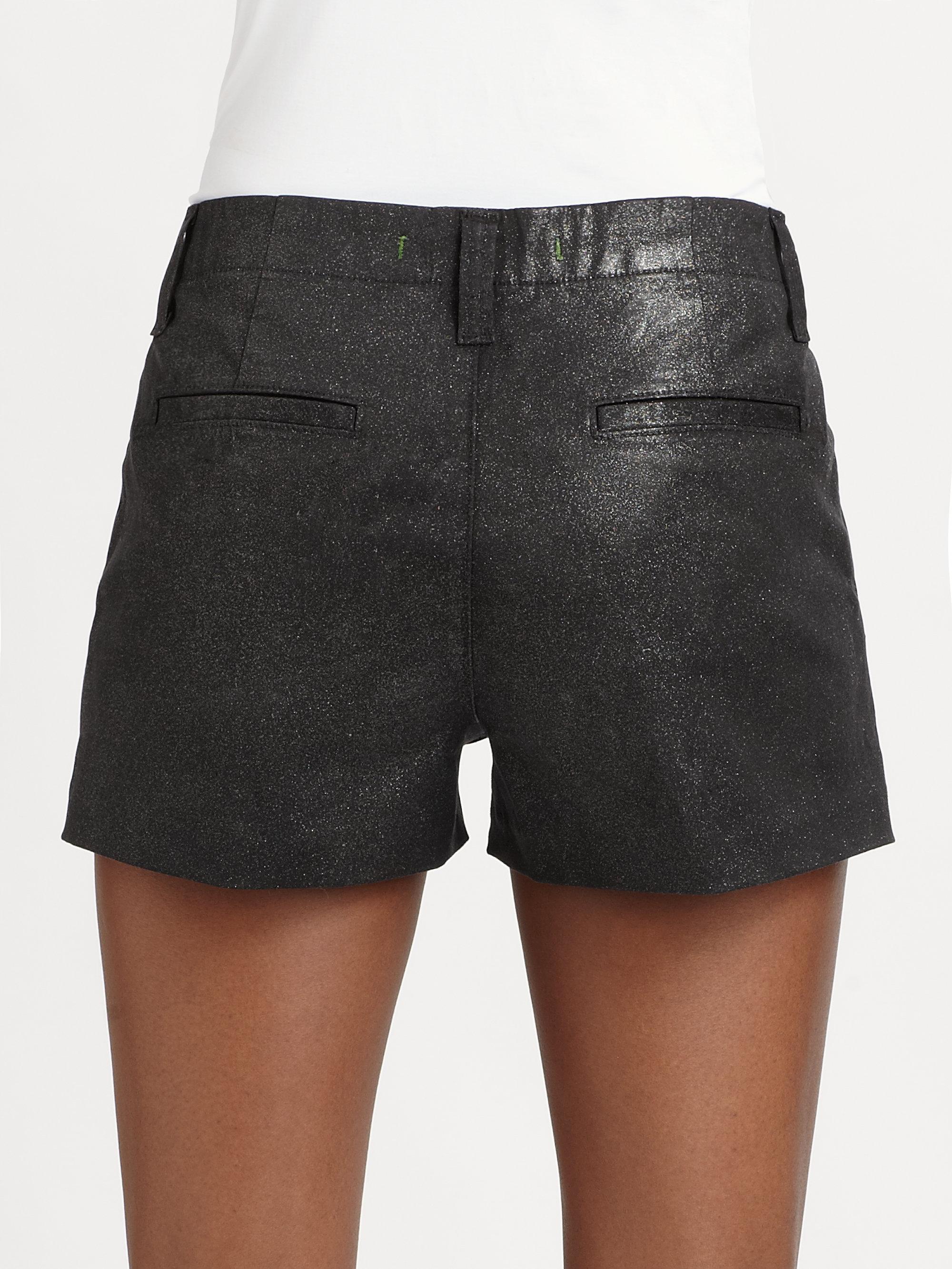 J brand Lola Highrise Coated Denim Shorts in Black | Lyst