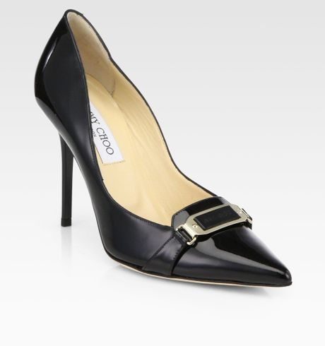 Jimmy Choo Vecta Patent Leather Pumps in Black