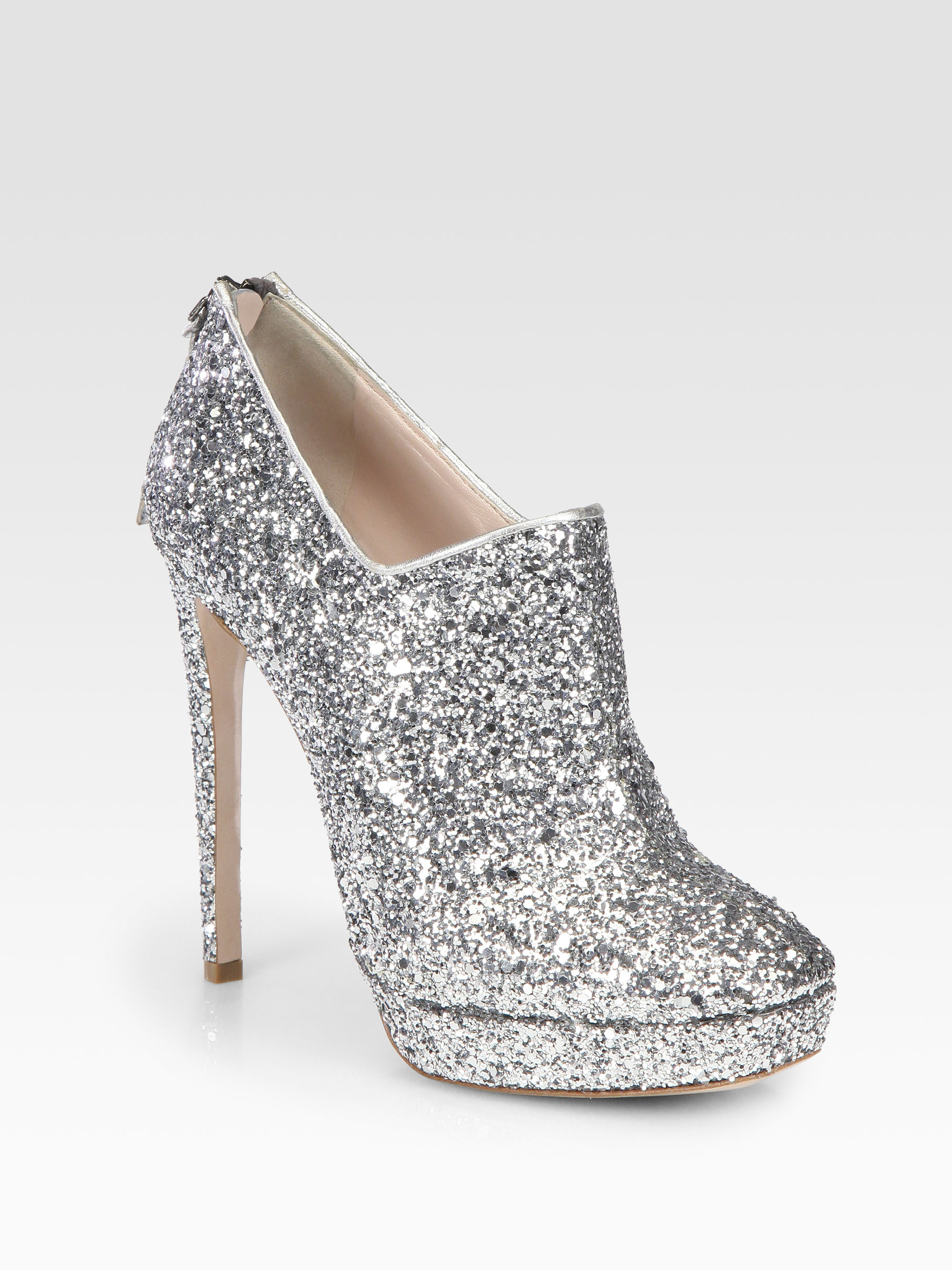 miu miu glitter coated platform ankle boots in metallic lyst