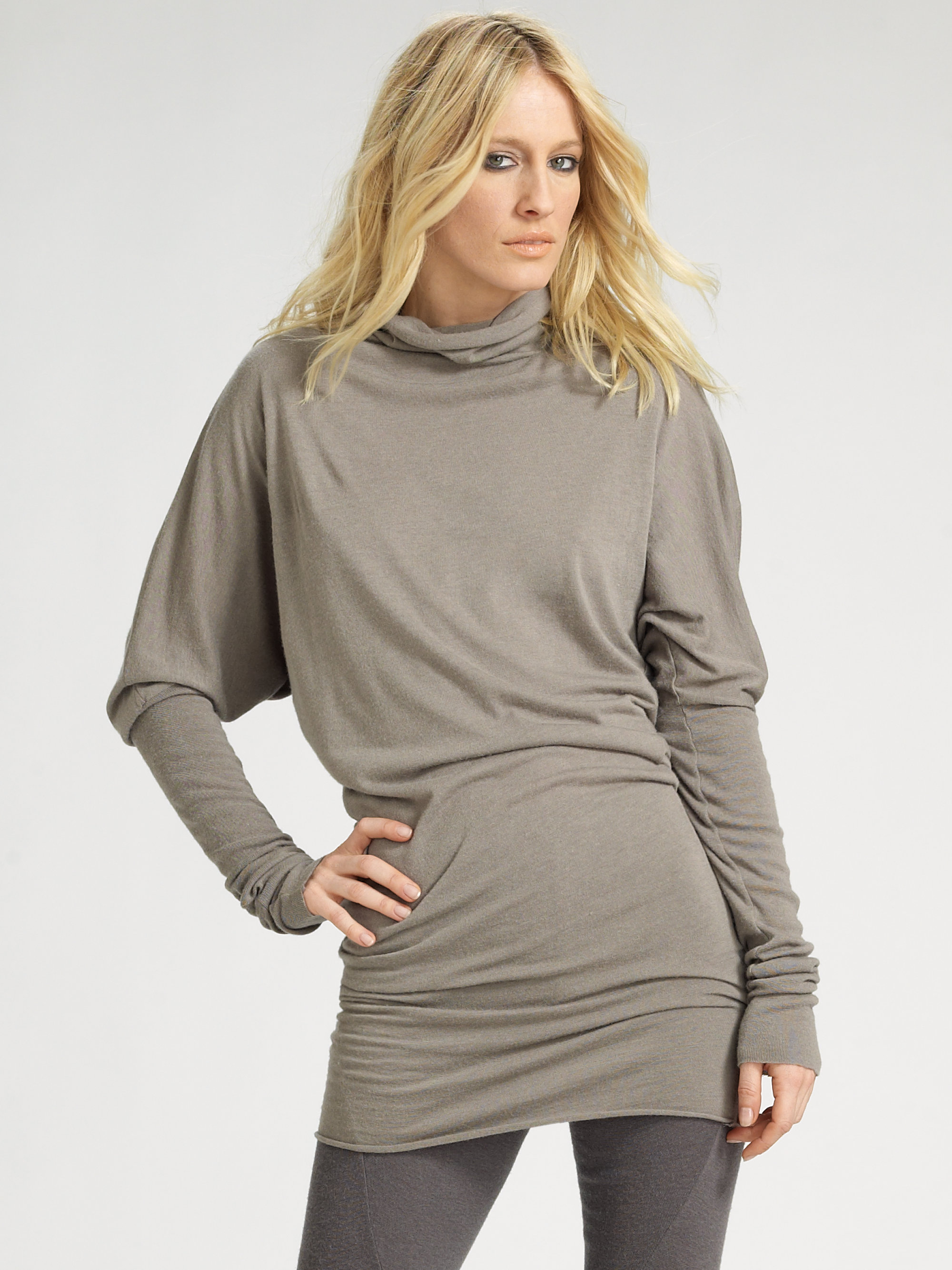 Rick owens lilies Dolman Sleeve Tunic Sweater in Gray | Lyst